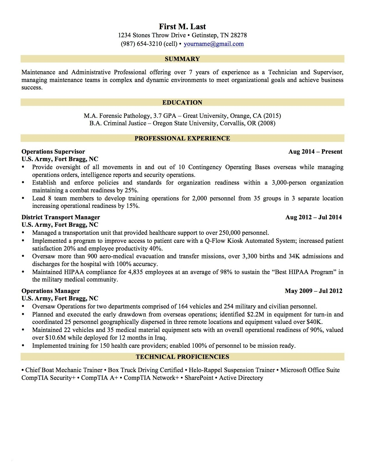 Military Experience On Resume - 18 Military Experience Resume Example