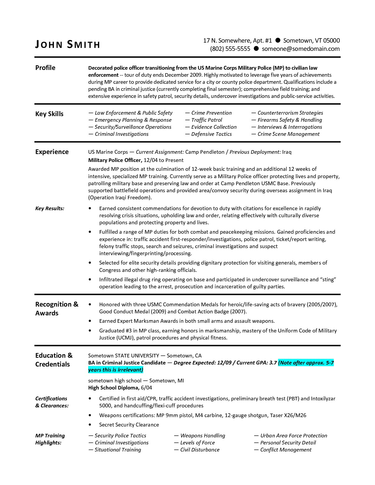 Military Police Resume - 19 Law Enforcement Resume Template
