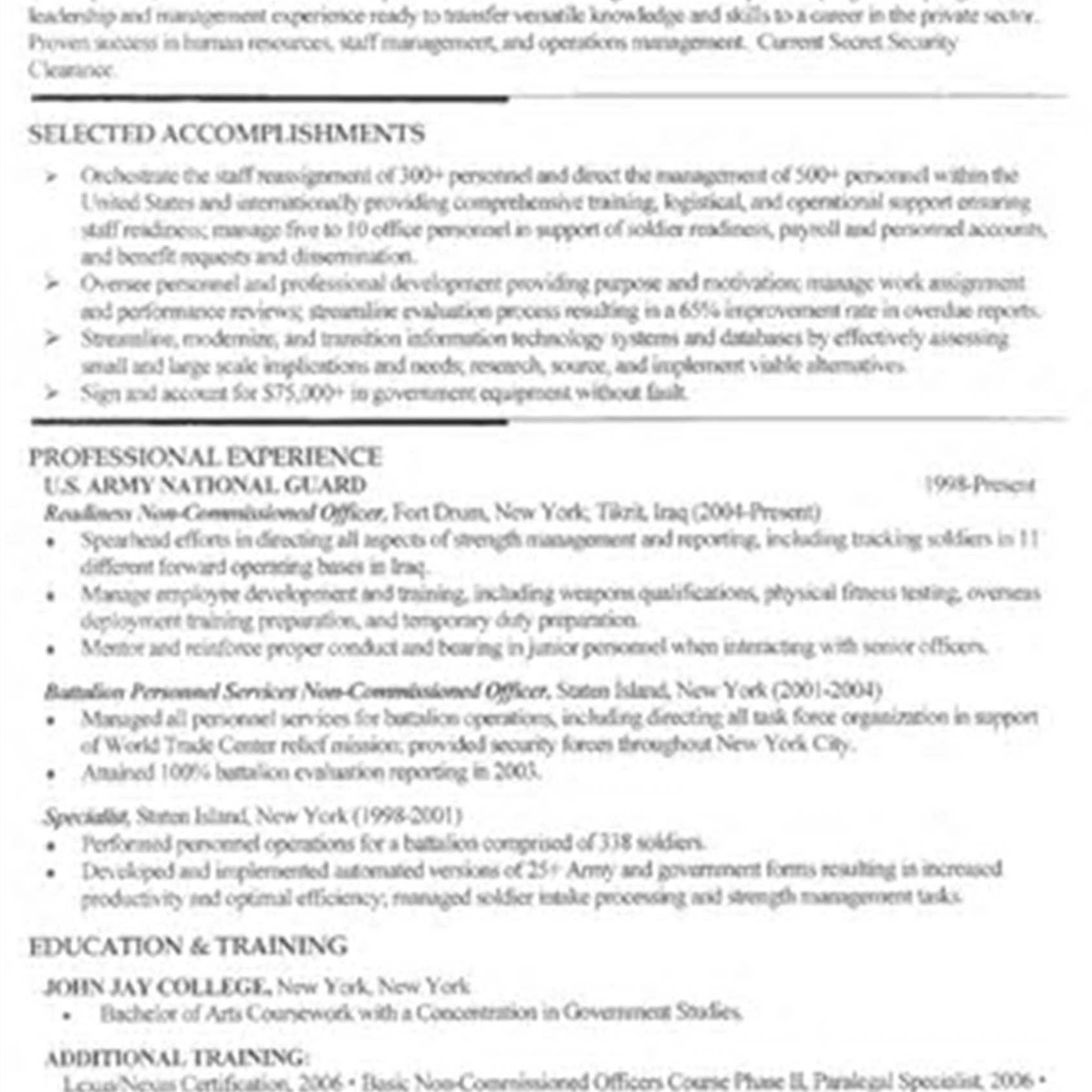 Military to Civilian Resume - Military Resume Examples for Civilian Inspirationa Military to