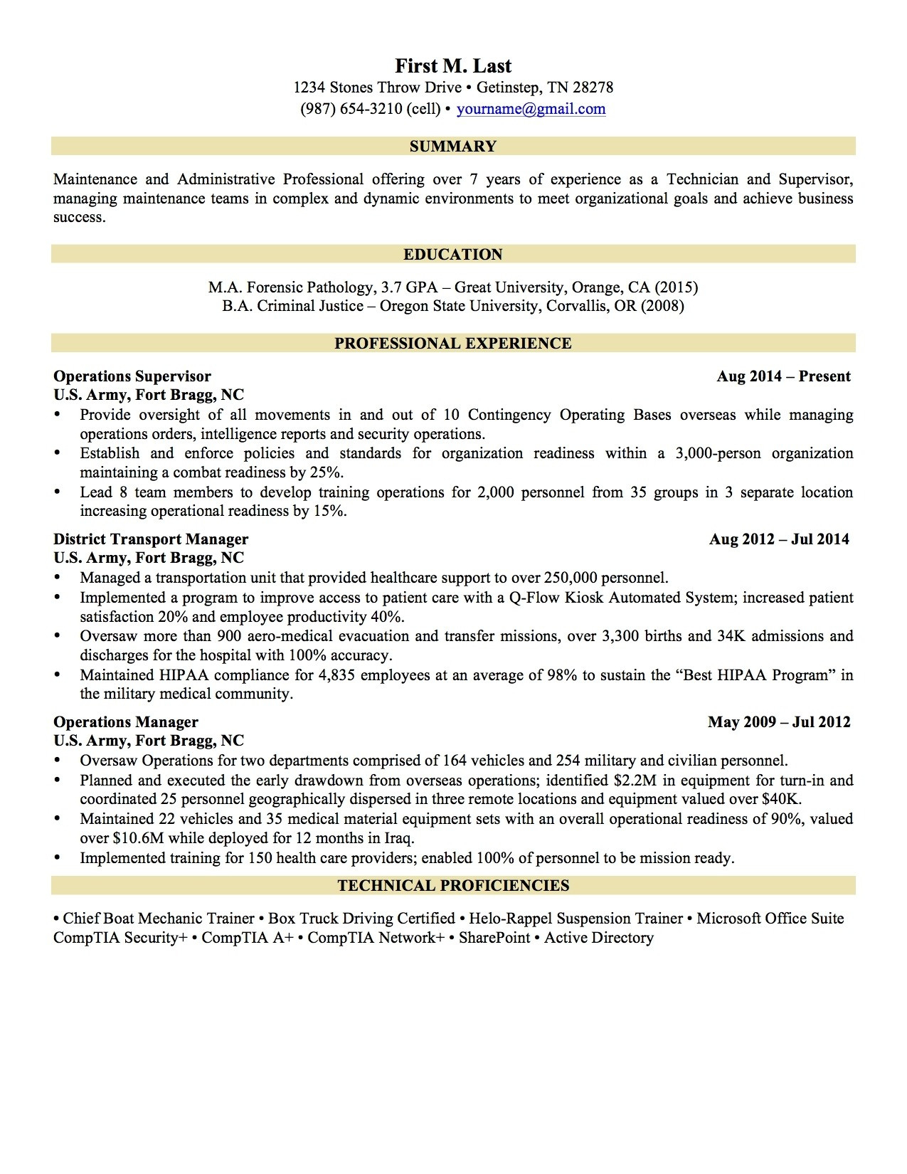 Military to Civilian Resume - Military Resume format Fresh Military Civilian Resume Template