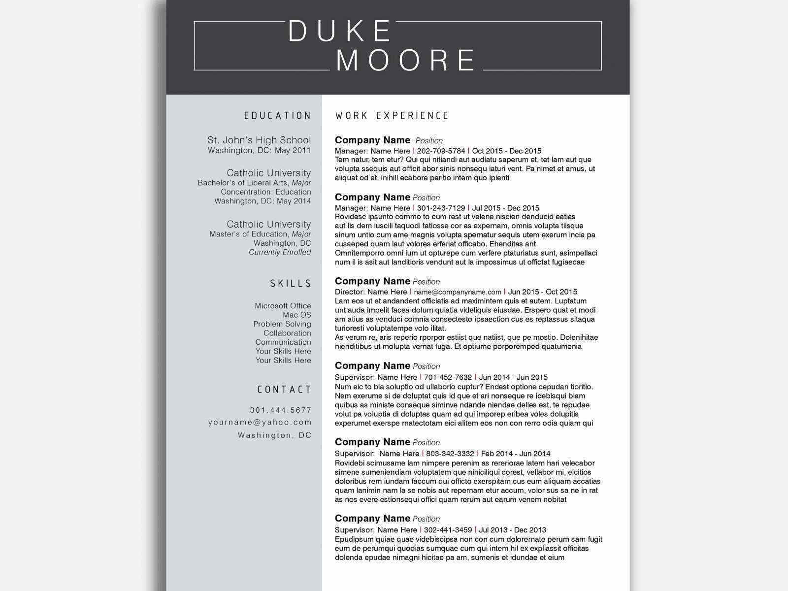 Minimalist Resume Template - Microsoft Word Federal Re Refrence Creative Resume Templates Word