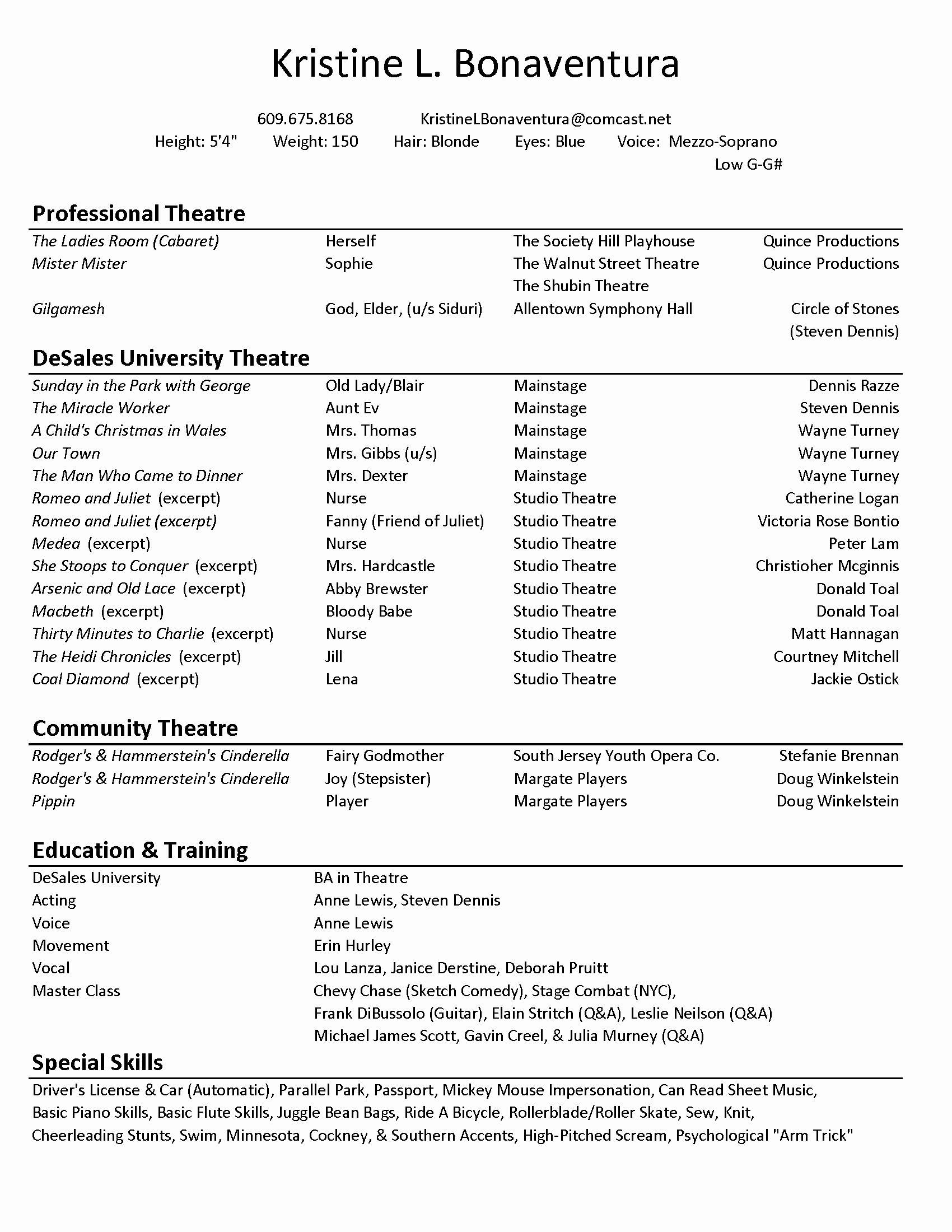 Musical theater Resume Template - theater Resume Template Elegant Musical theatre Resume Beautiful