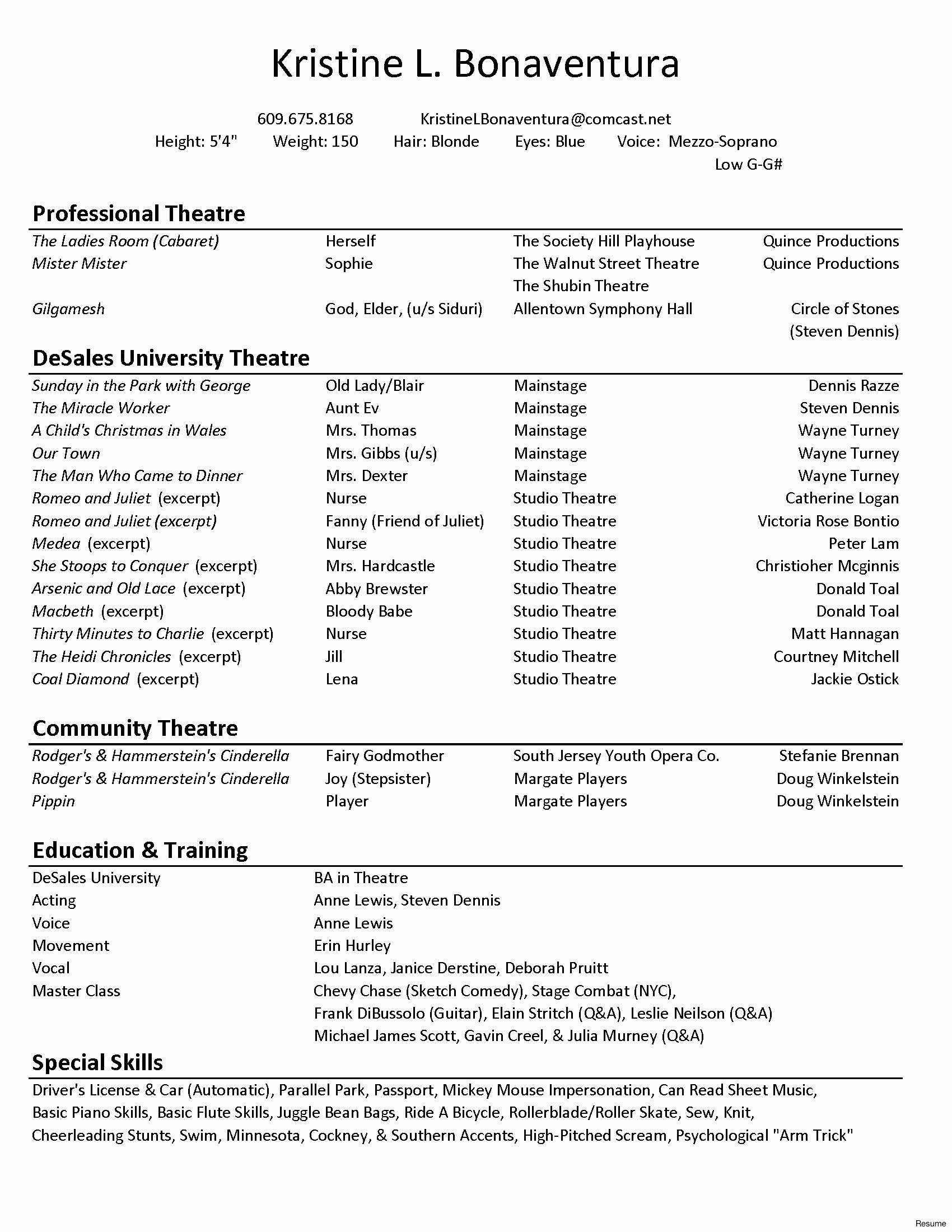 Musical theatre Resume - Technical theatre Resume Fresh theatre Resume Template Artistic