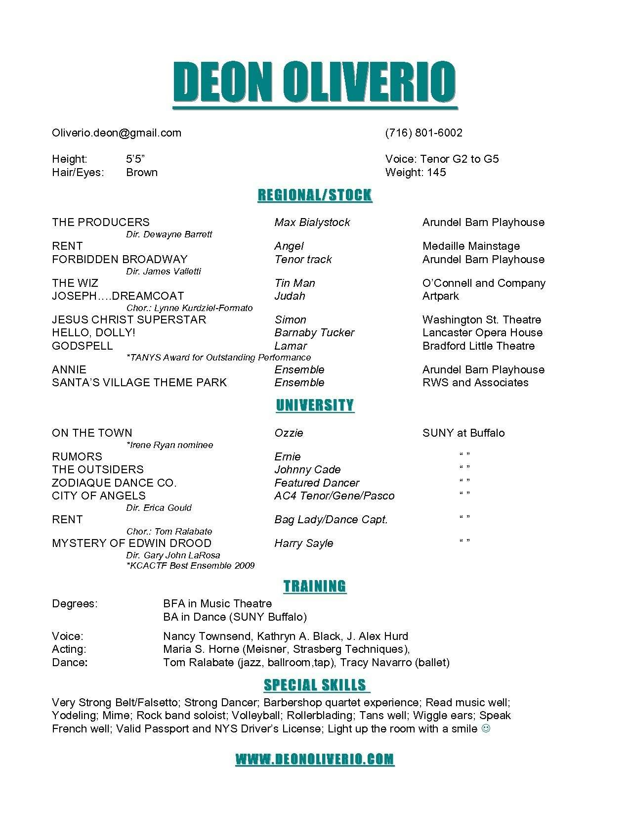 Musical theatre Resume - Sample Musical theatre Resume Inspirationa theatre Resume Example