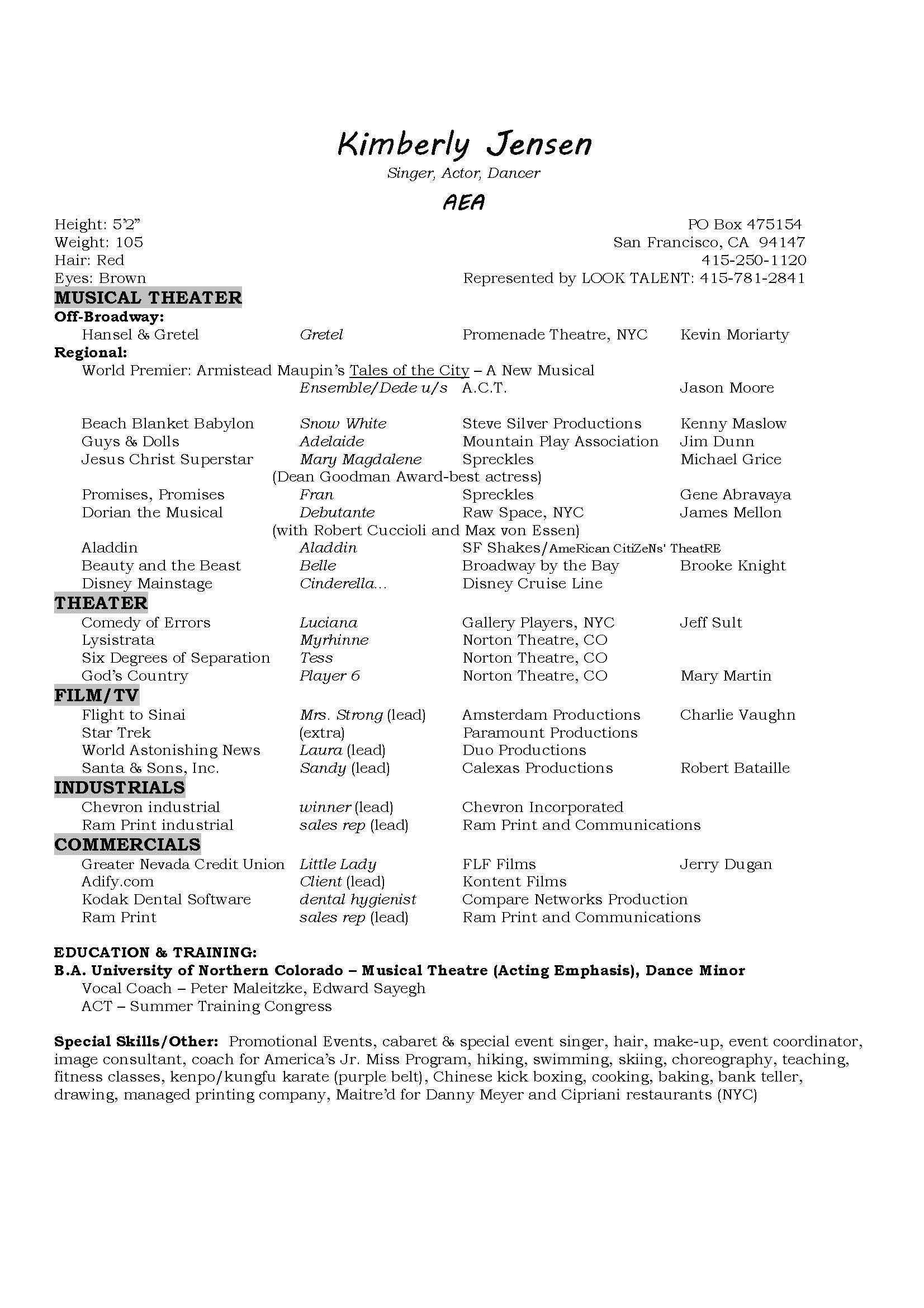 Musical theatre Resume - Musicians Resume Template Best Musical theatre Resume Beautiful Best