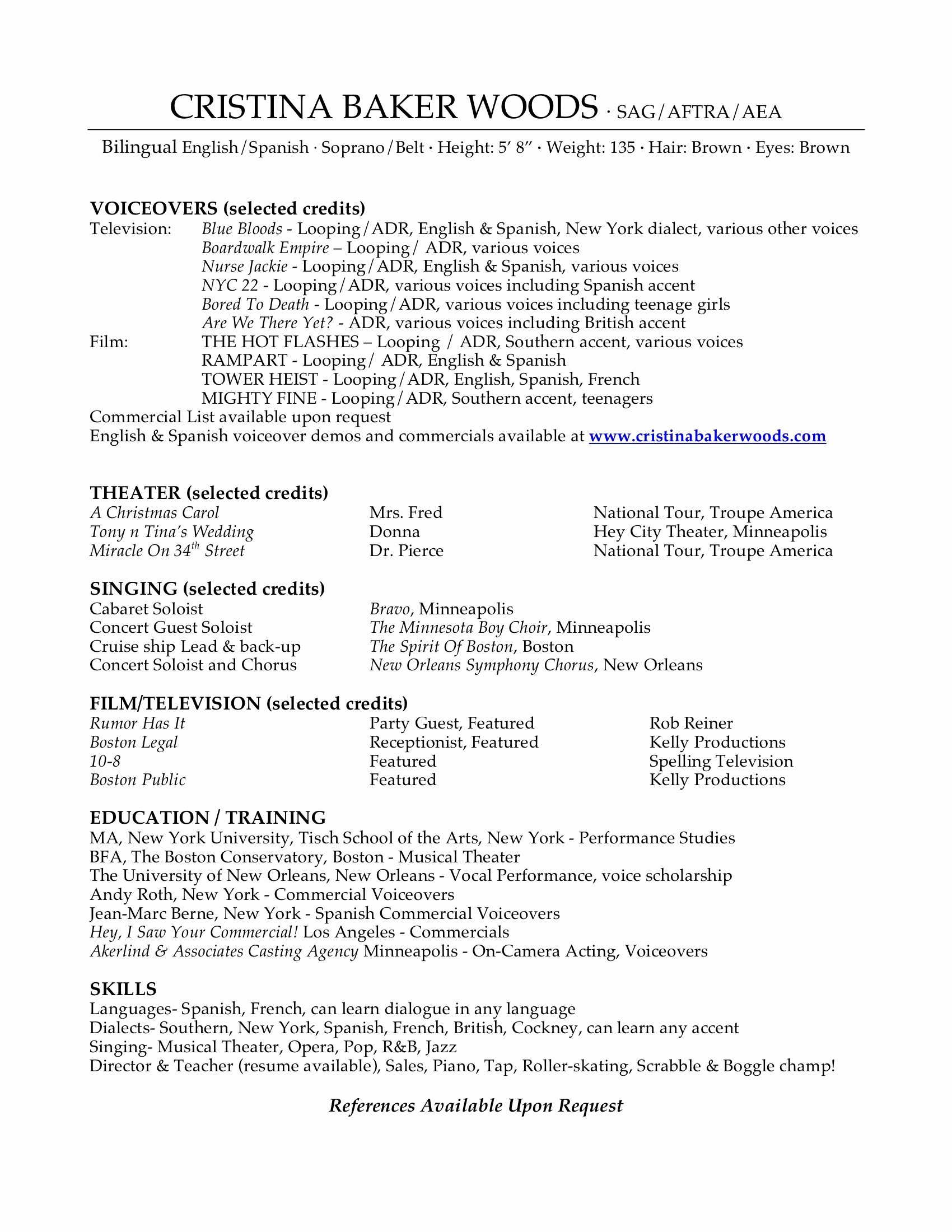 Musical theatre Resume - 15 Inspirational Musical theatre Resume
