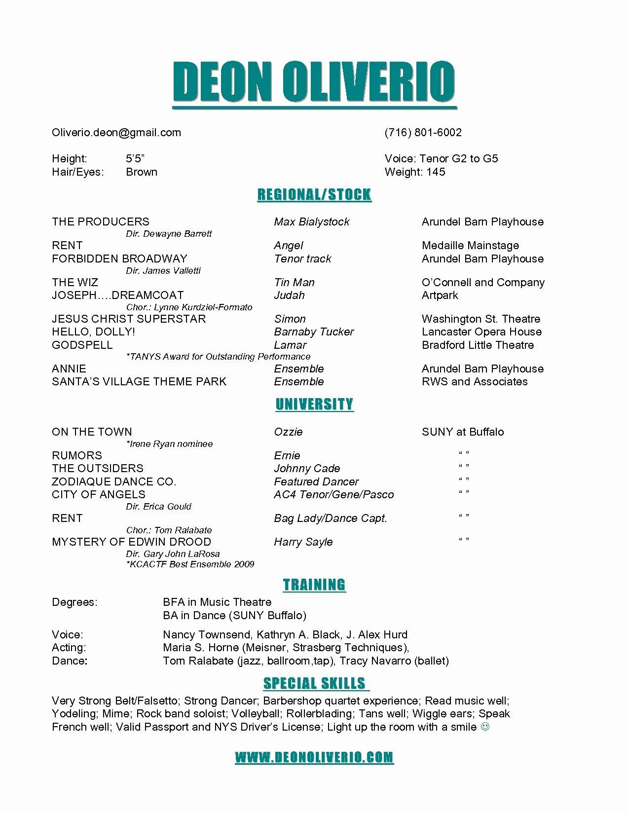Musical theatre Resume Example - Musical theatre Resume Template
