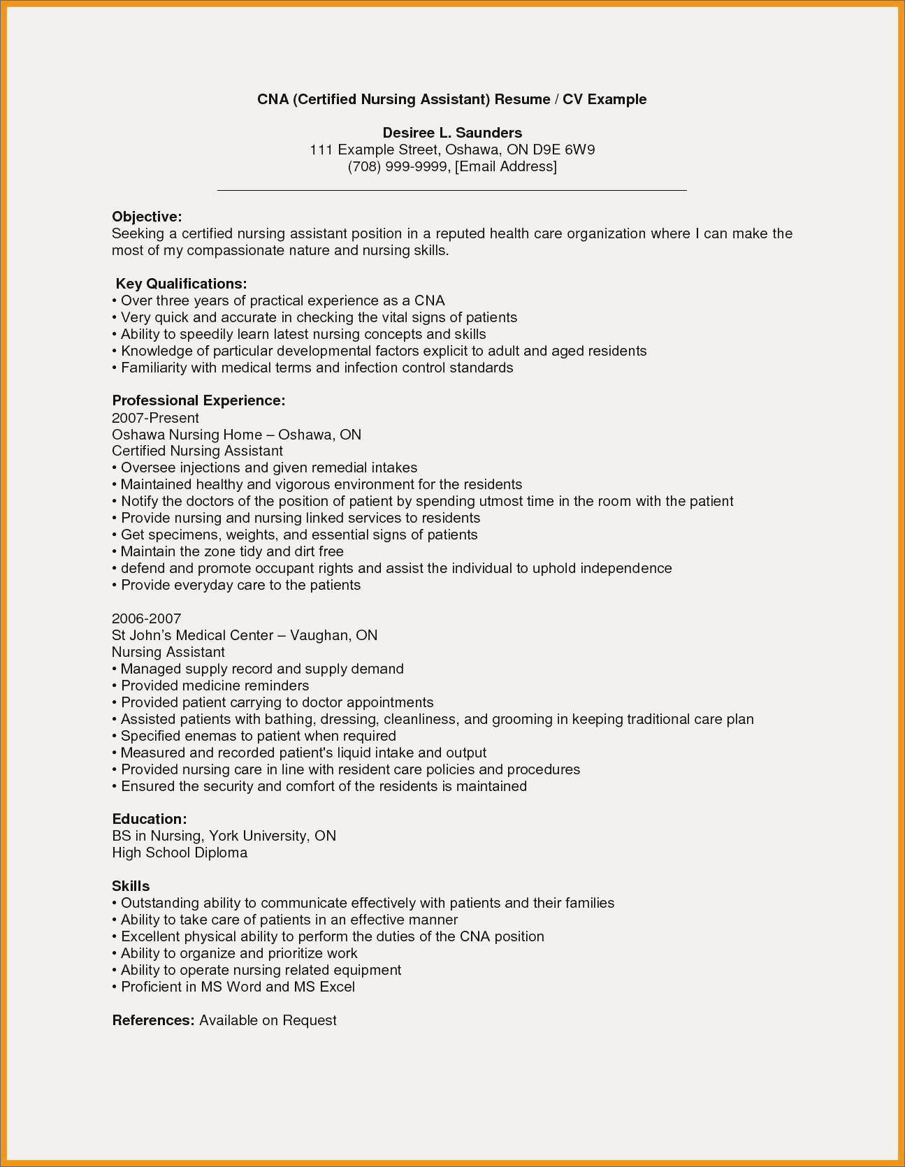 Nurse Aide Resume - Certified Nursing assistant Resume Fresh Cna Resume Examples with