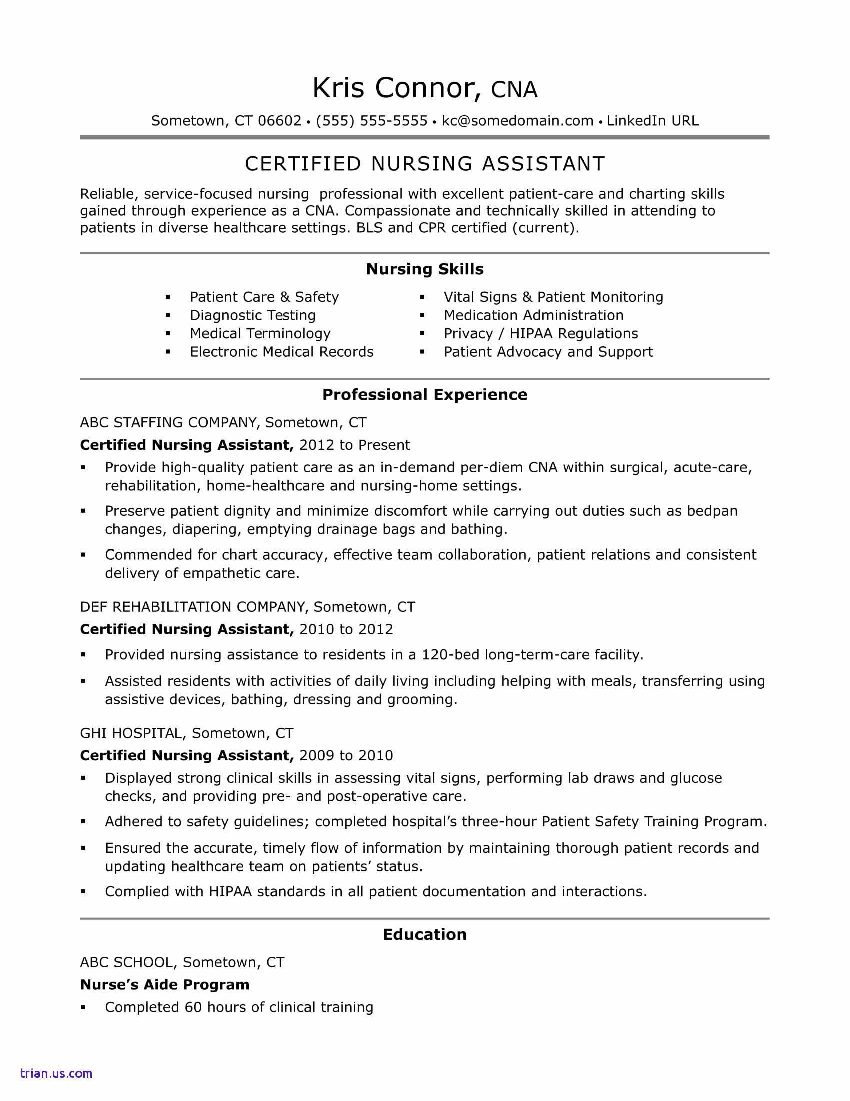 Nurse Aide Resume - Resume for Certified Nurse assistant – Cna Resume Examples Elegant