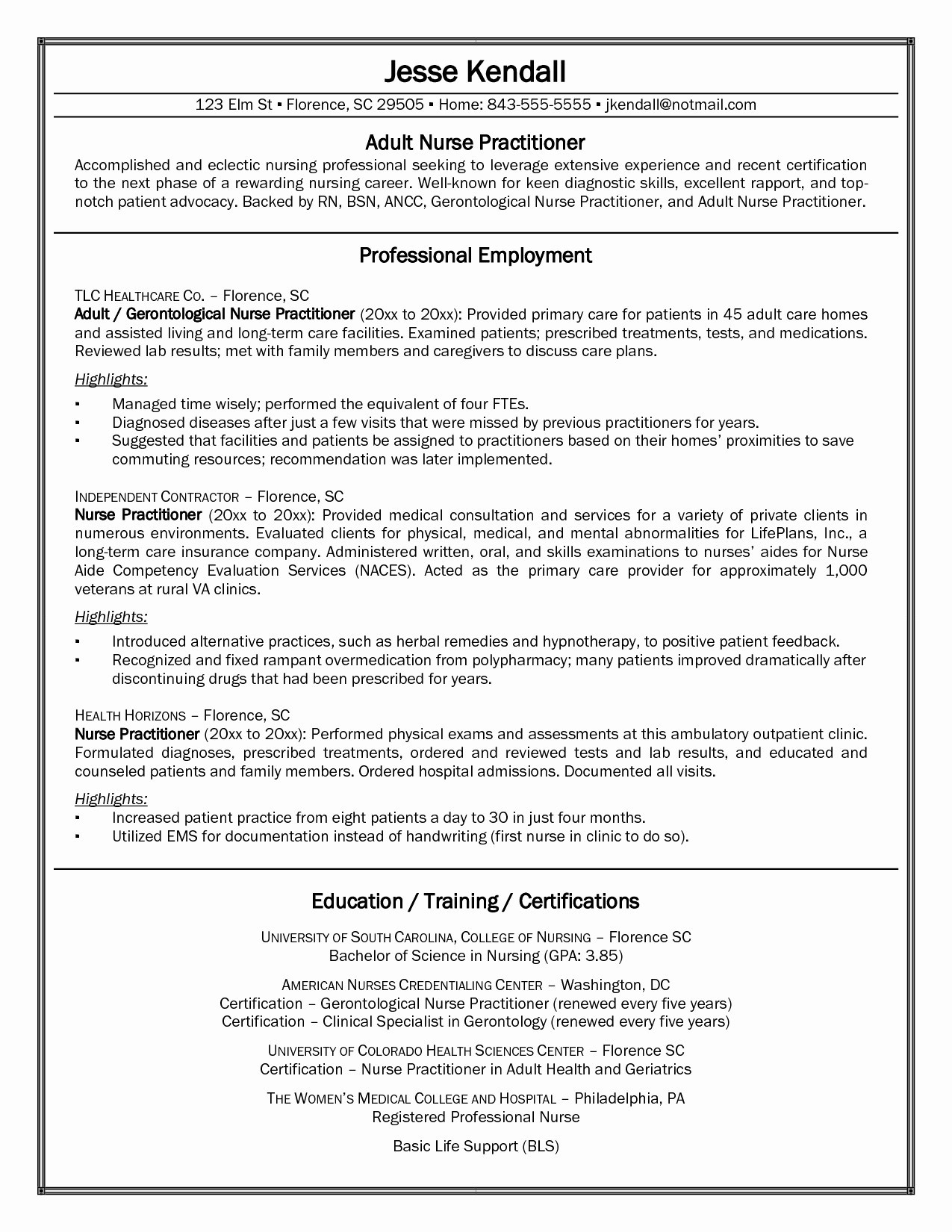 Nurse Practitioner Resume Example - Professional Nursing Resume Elegant Experienced Rn Resume Fresh