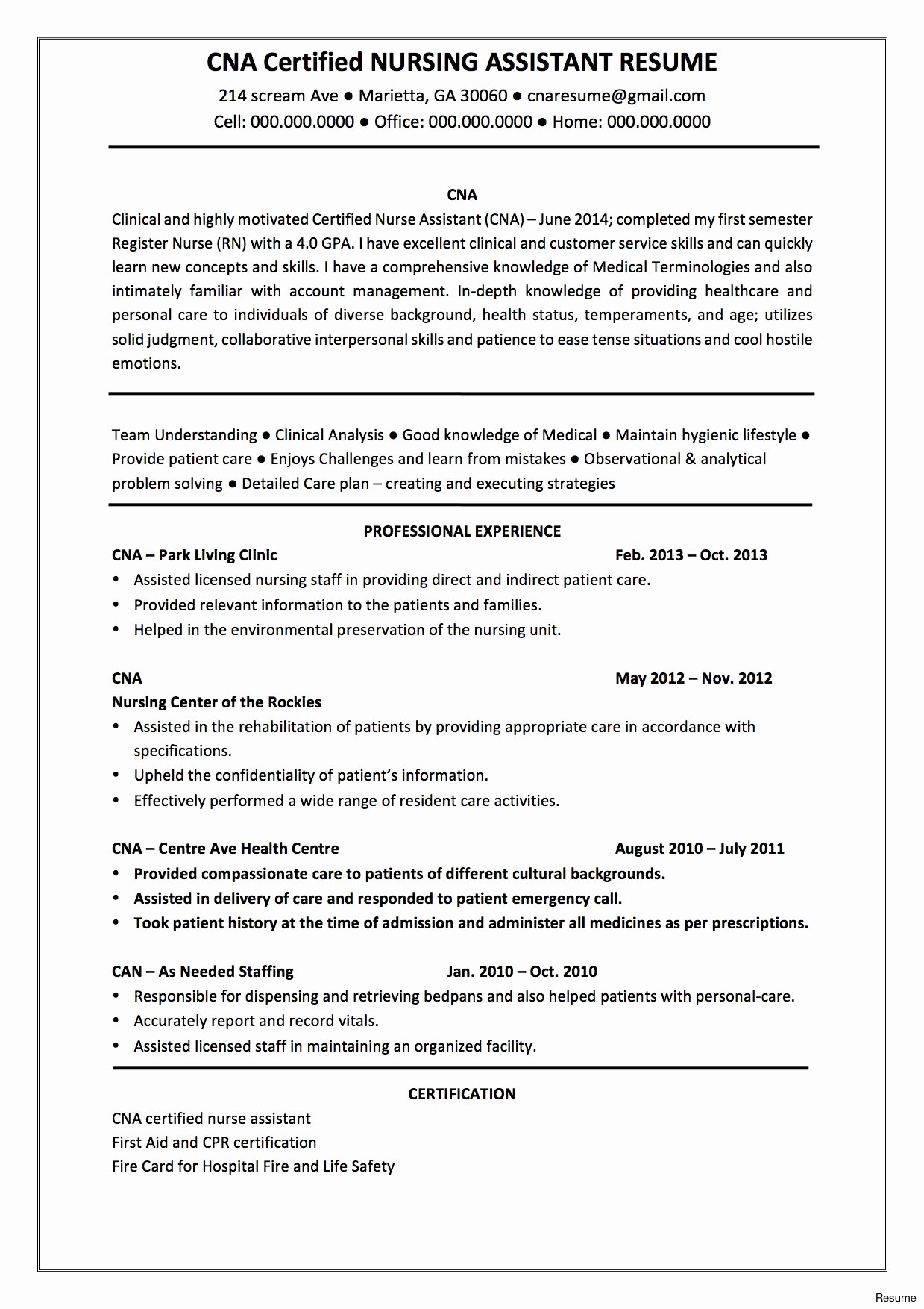 Nurse Resume Template Free Download - Professional Resume format for Experienced Free Download Book