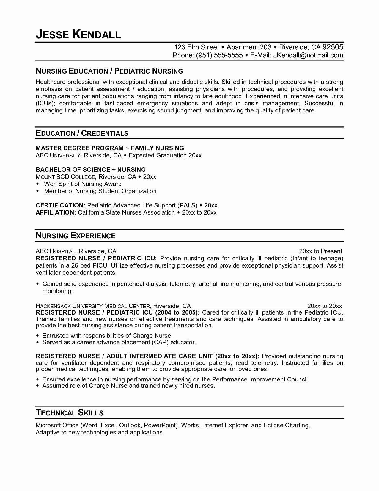 Nurse Resume Template Word - Rn Resume Template Beautiful Rn Resume Templates New New Nurse