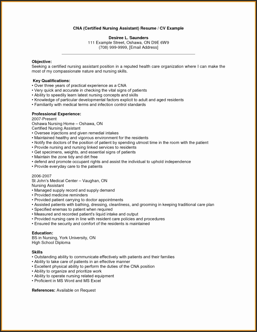 Nursing assistant Resume Examples - Rn Resume Examples Awesome Examples Cna Resume Fresh Rn Bsn Resume