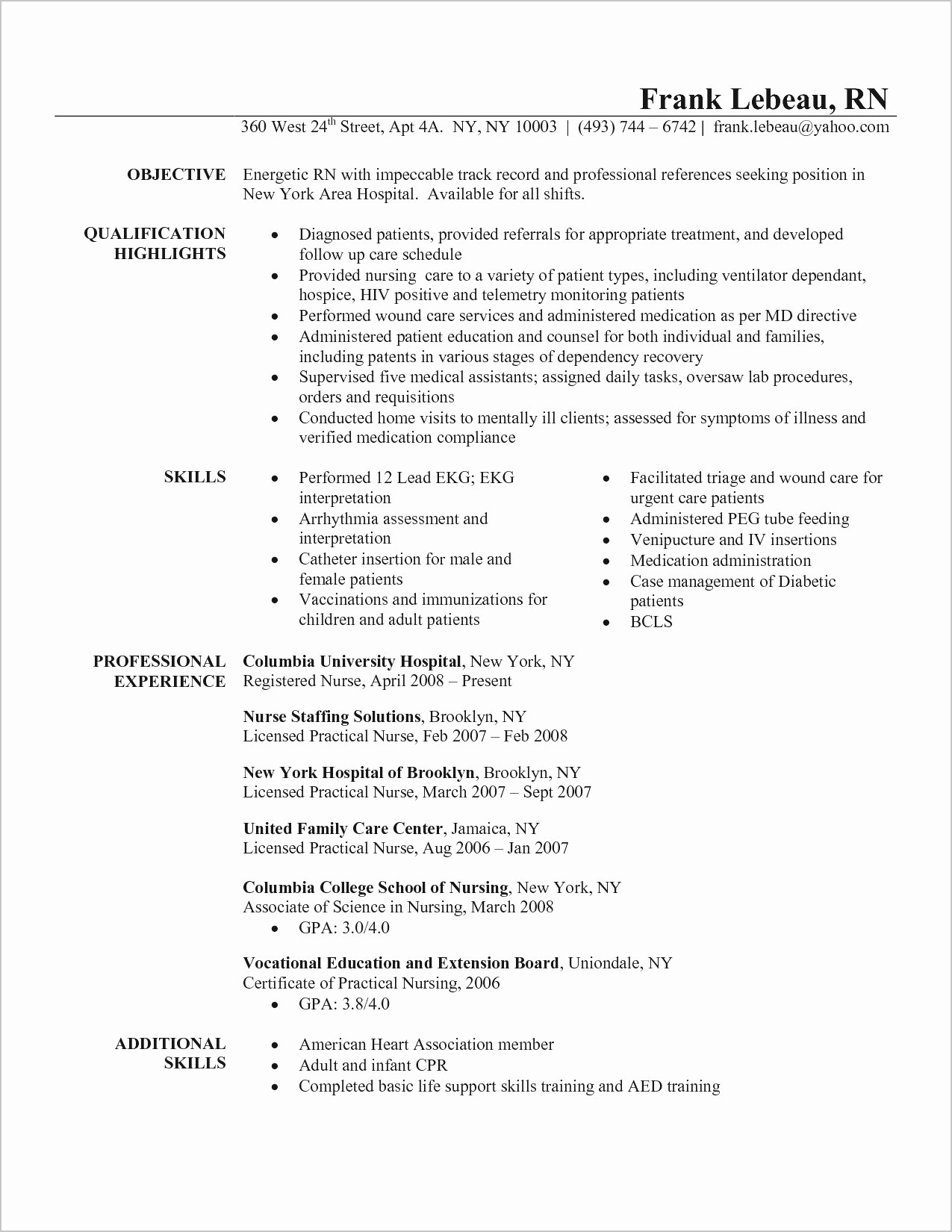 Nursing Student Resume with No Experience - Resume for No Experience Luxury Inspirational Actor Resume Unique