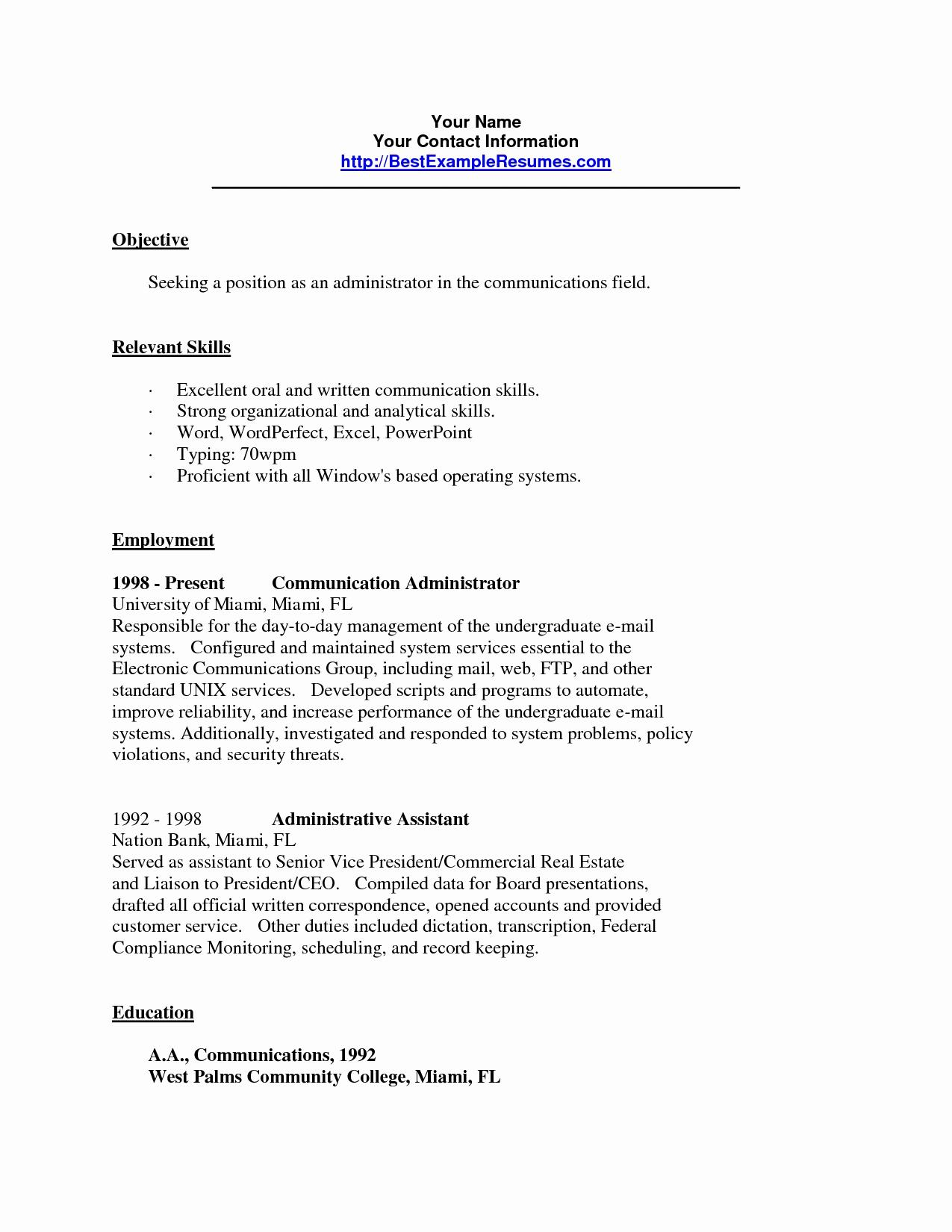 Objective Section Of Resume - Resume Skills Section Examples Lovely Sample Architect Resumes Web