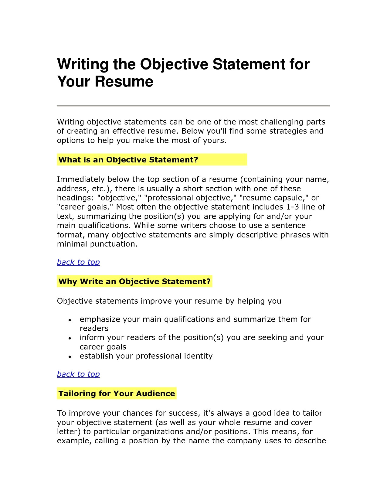 Objective Section Of Resume - 46 New Resume Examples Objectives