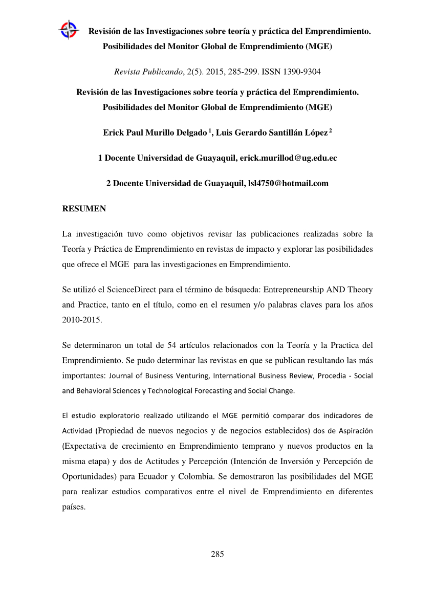 Objetivos En Un Resume - Pdf the Global Entrepreneurship Monitor Gem and Its Impact On