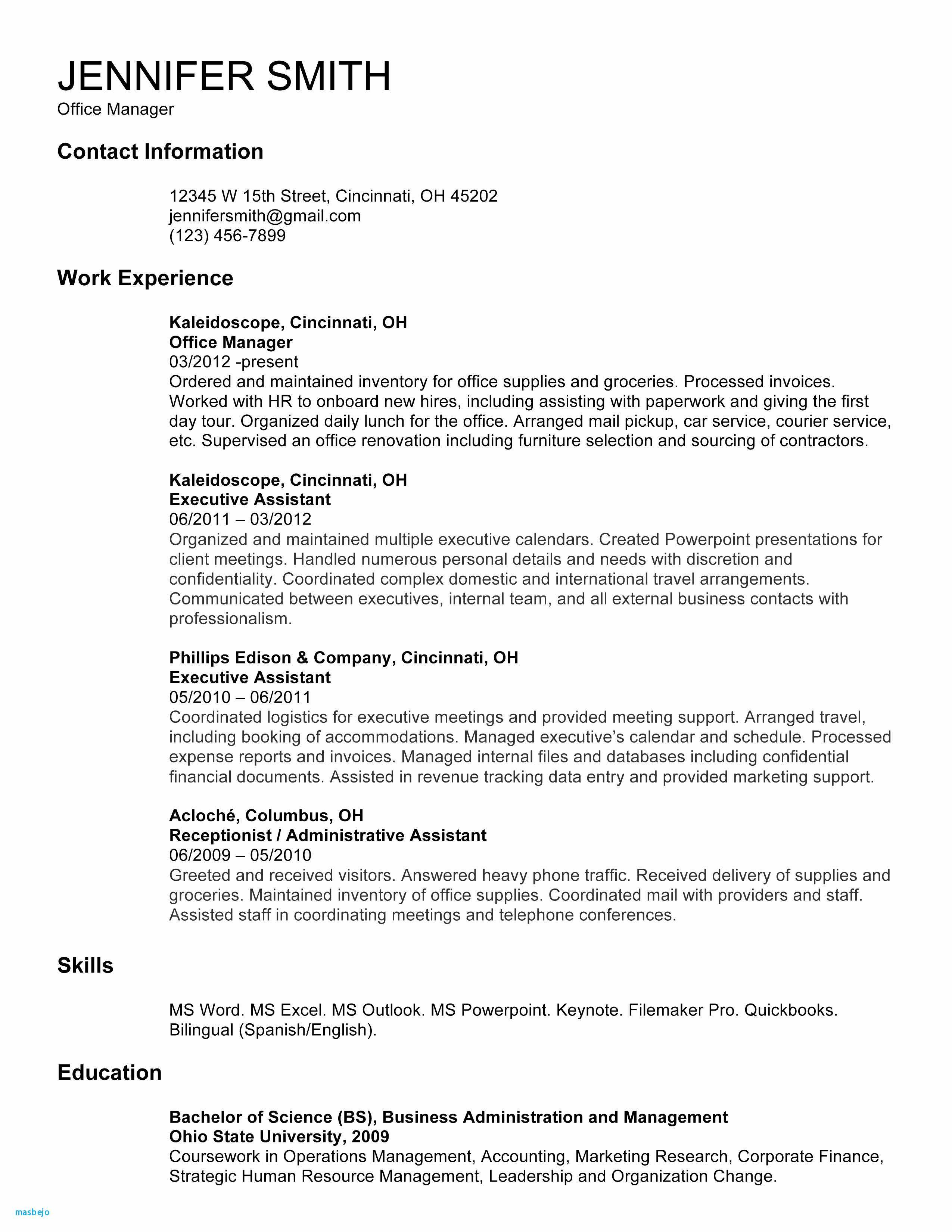 Office Manager Resume - Inspirational Sample Fice Manager Resume