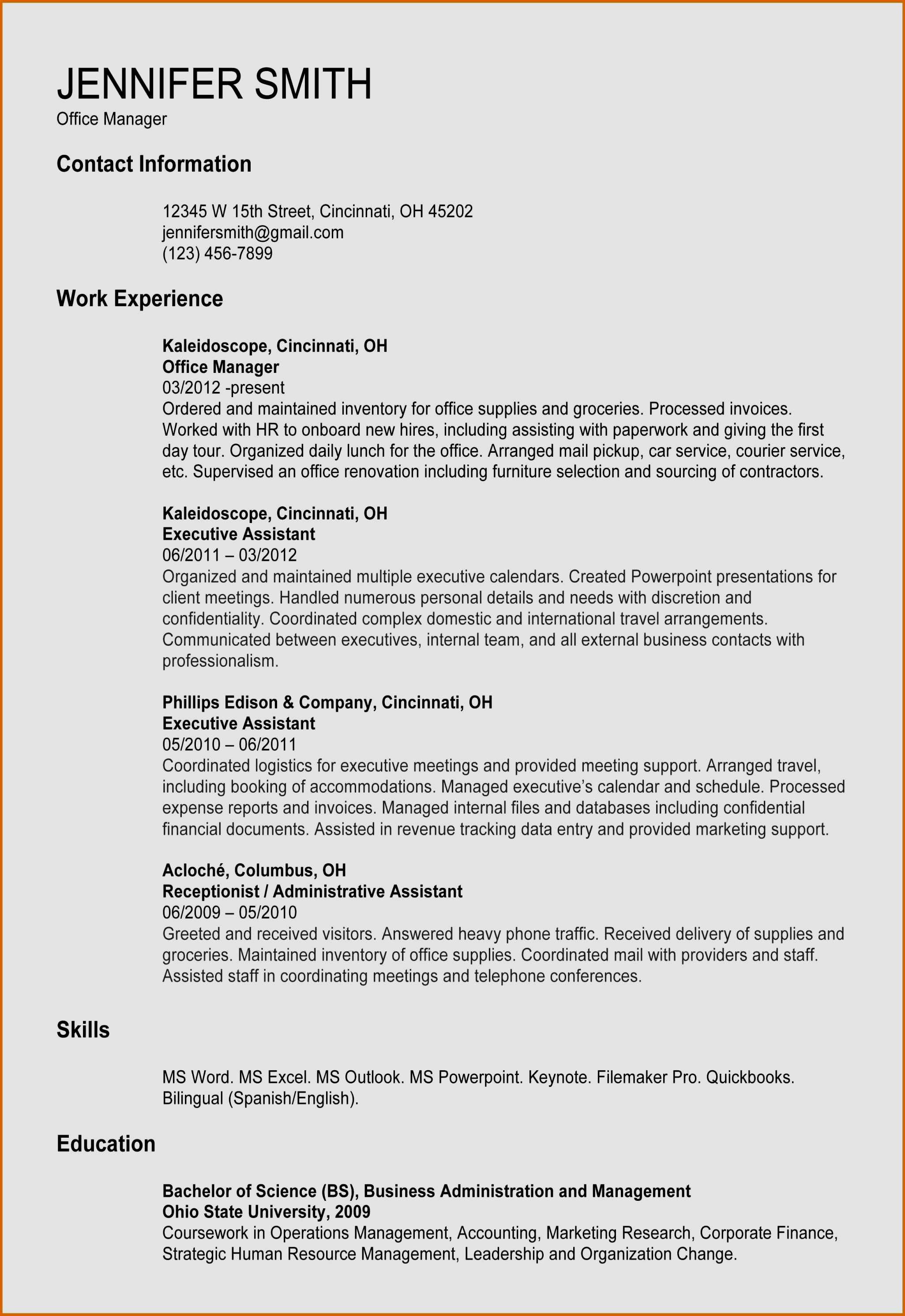 Office Manager Resume Template Free - 19 Inspirational Cover Letter Fice Manager Free Resume Templates