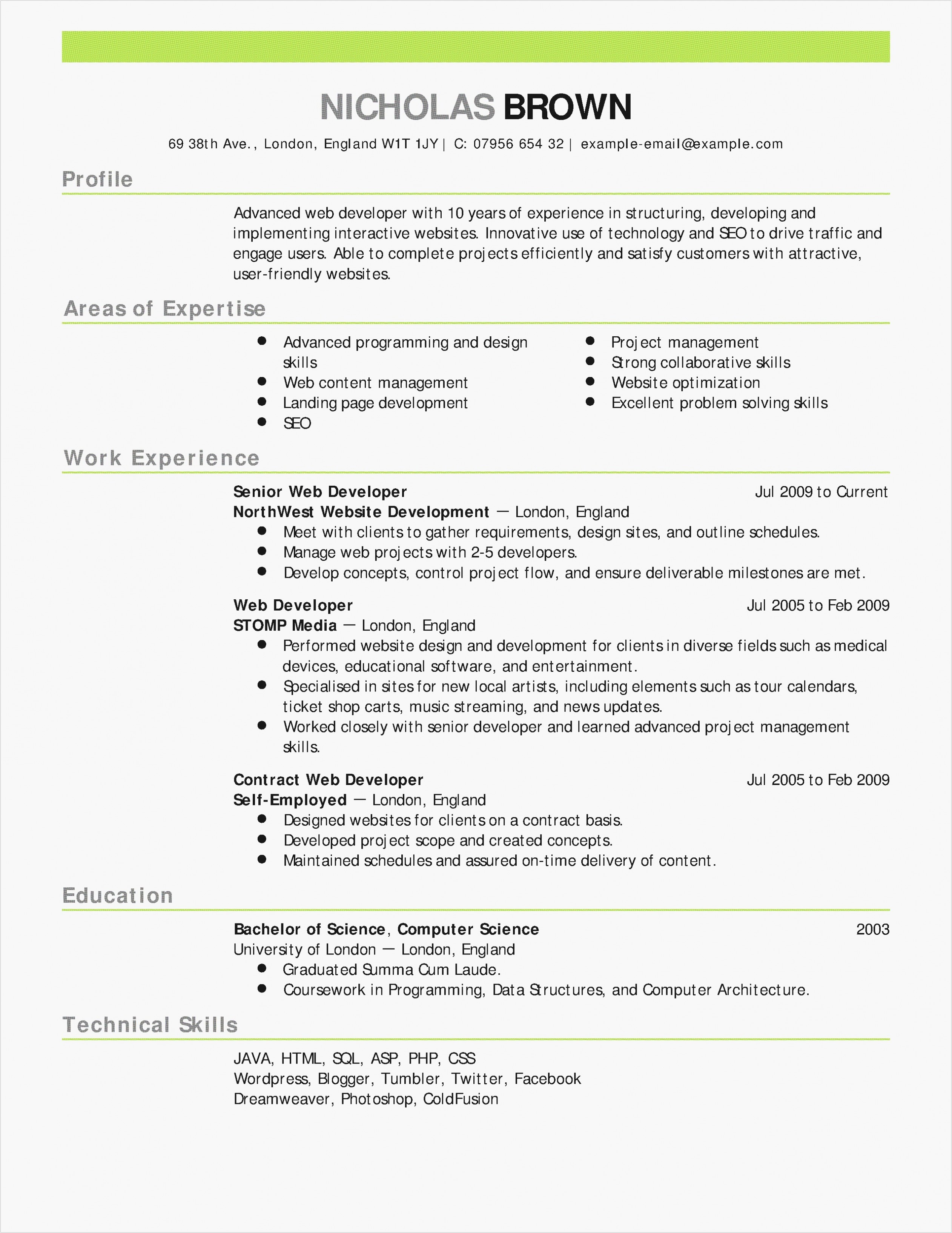 One Page Resume Template Free - Letter Agreement Template Free Collection
