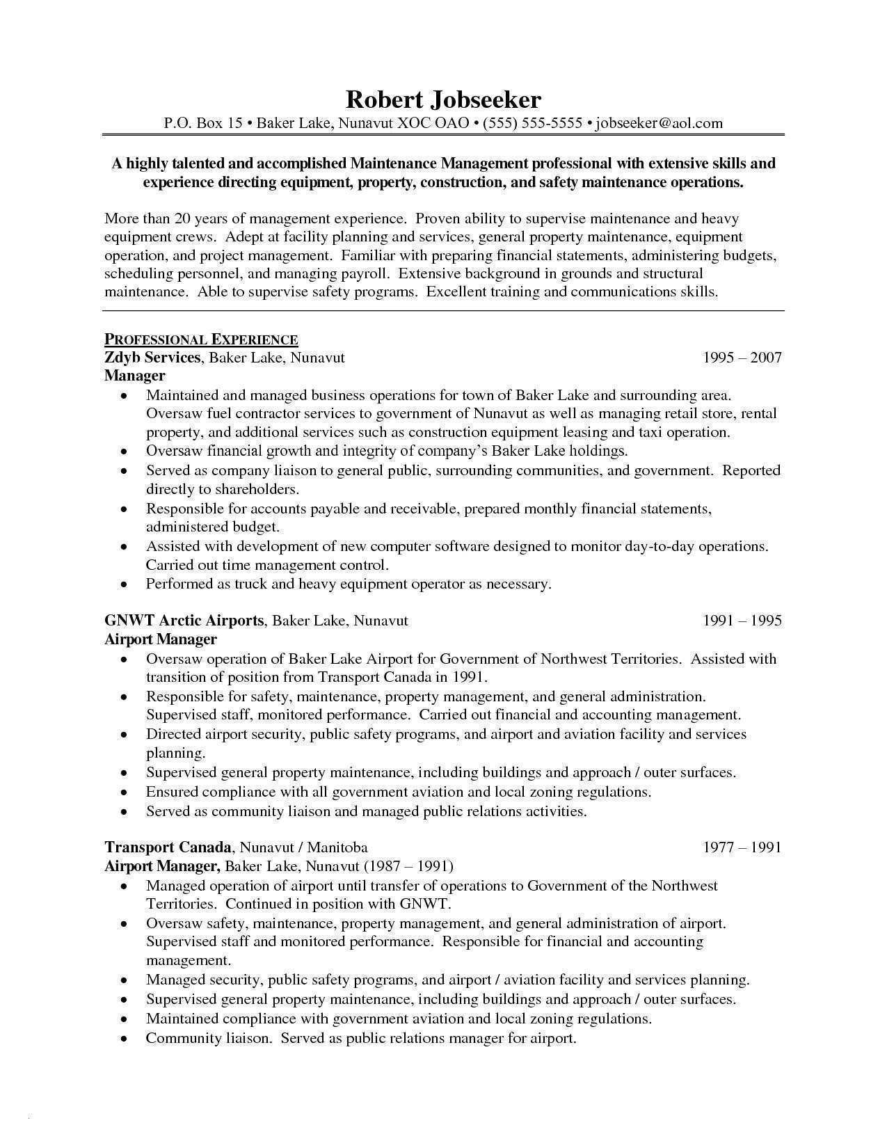Operation Manager Resume Template - 48 Elegant Cover Letter for Maintenance Manager Resume Designs