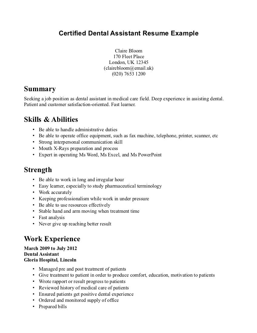 Orthodontic assistant Resume - Dental Student Resumes solab Rural