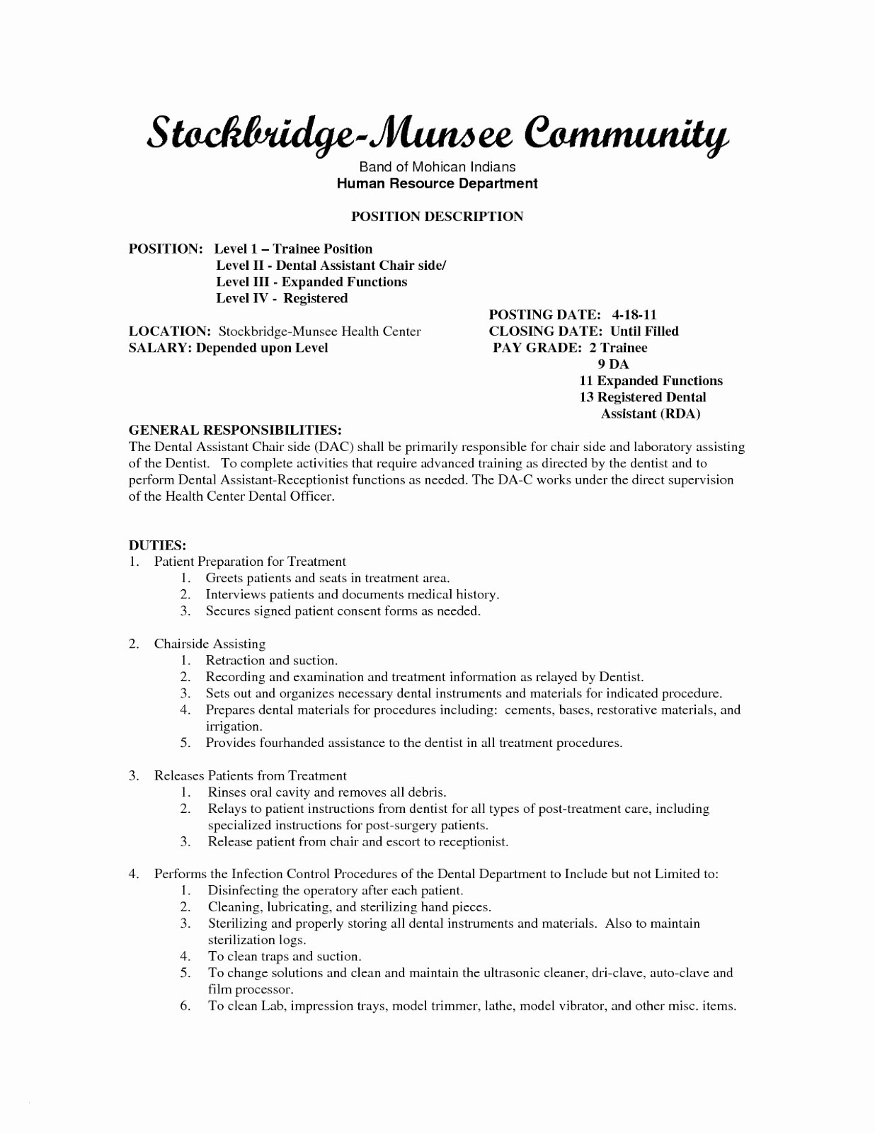 Orthodontic assistant Resume - Dental assistant Responsibilities Resume New Dental assistant Resume