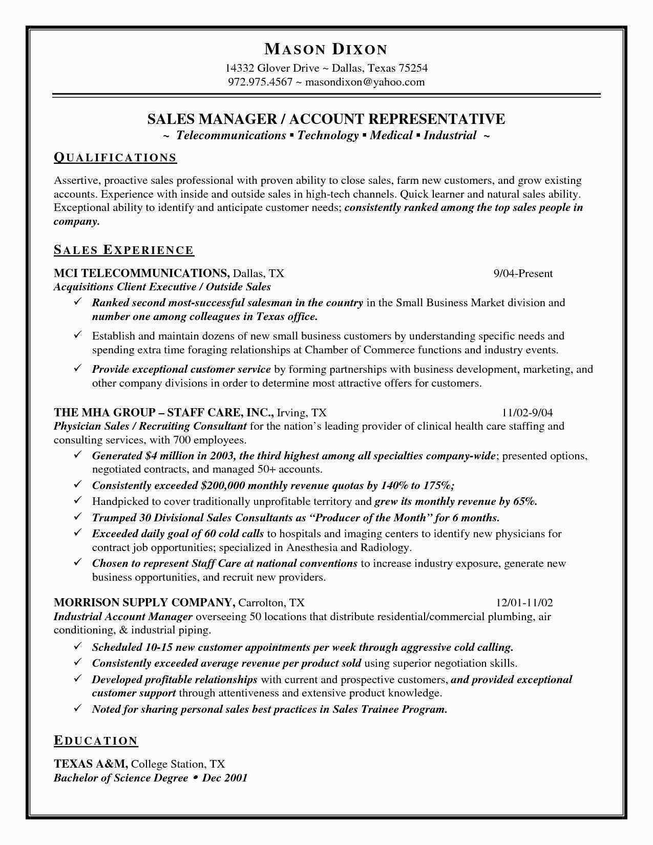 Outside Sales Rep Resume - Resume Samples for Sales Representative New Sales Resume Sample New