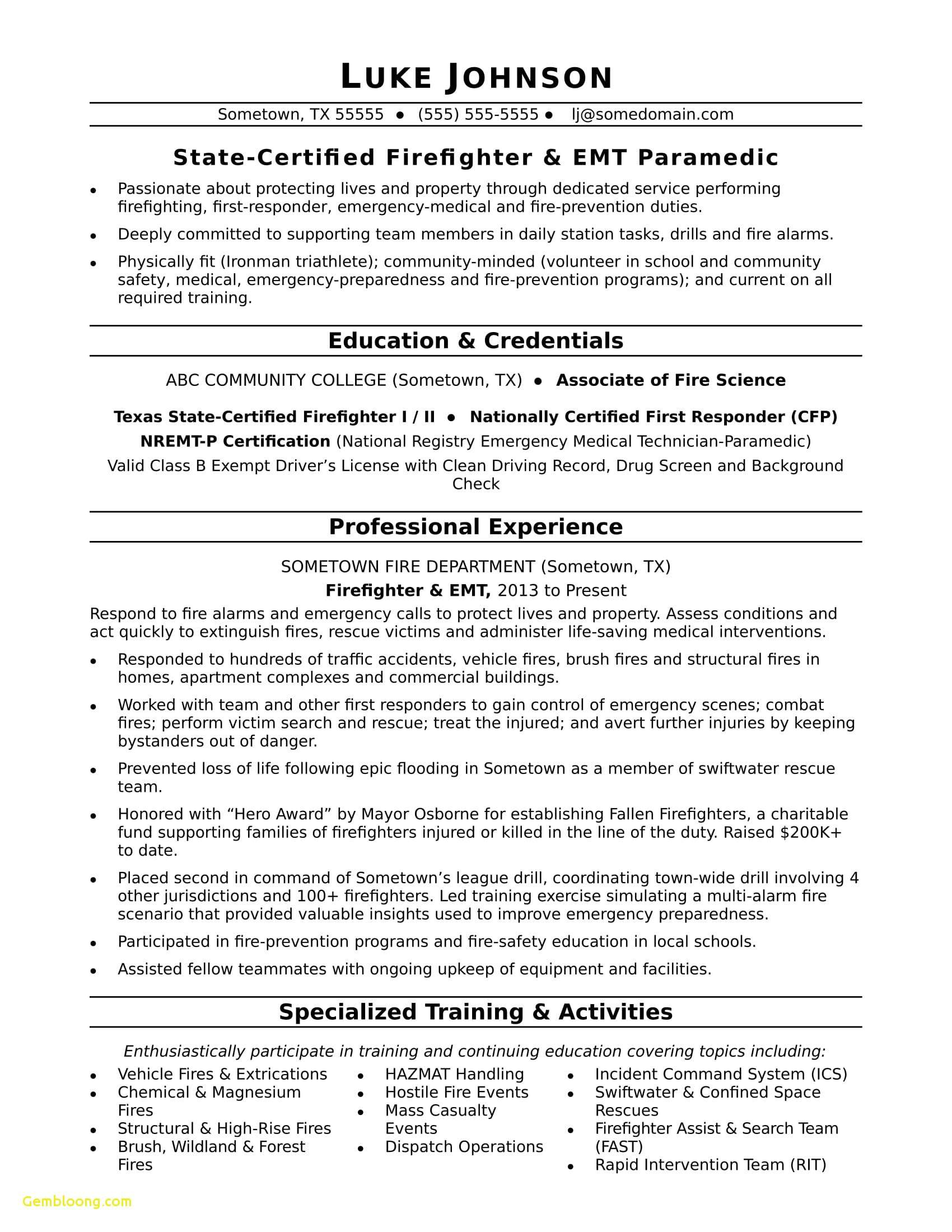 Paramedic Resume Template - the 24 Elegant Pics Sample Firefighter Resume