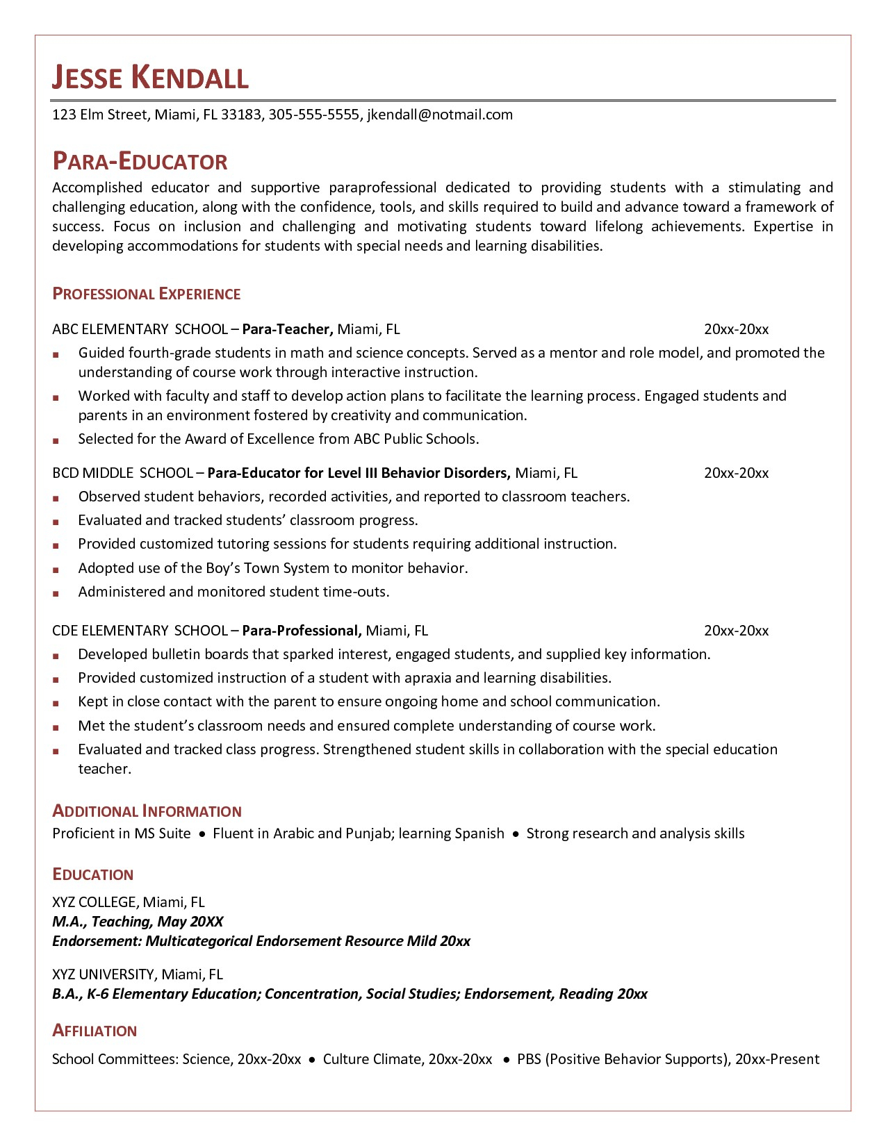 Paraprofessional Resume Template - Paraeducator Resume Template Archives Jaowebdesign New