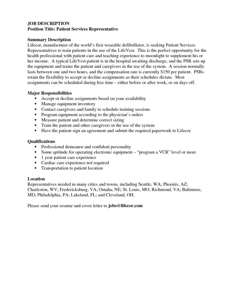 Patient Care Representative Resume - Patient Service Representative Resume Lovely Hospital Customer