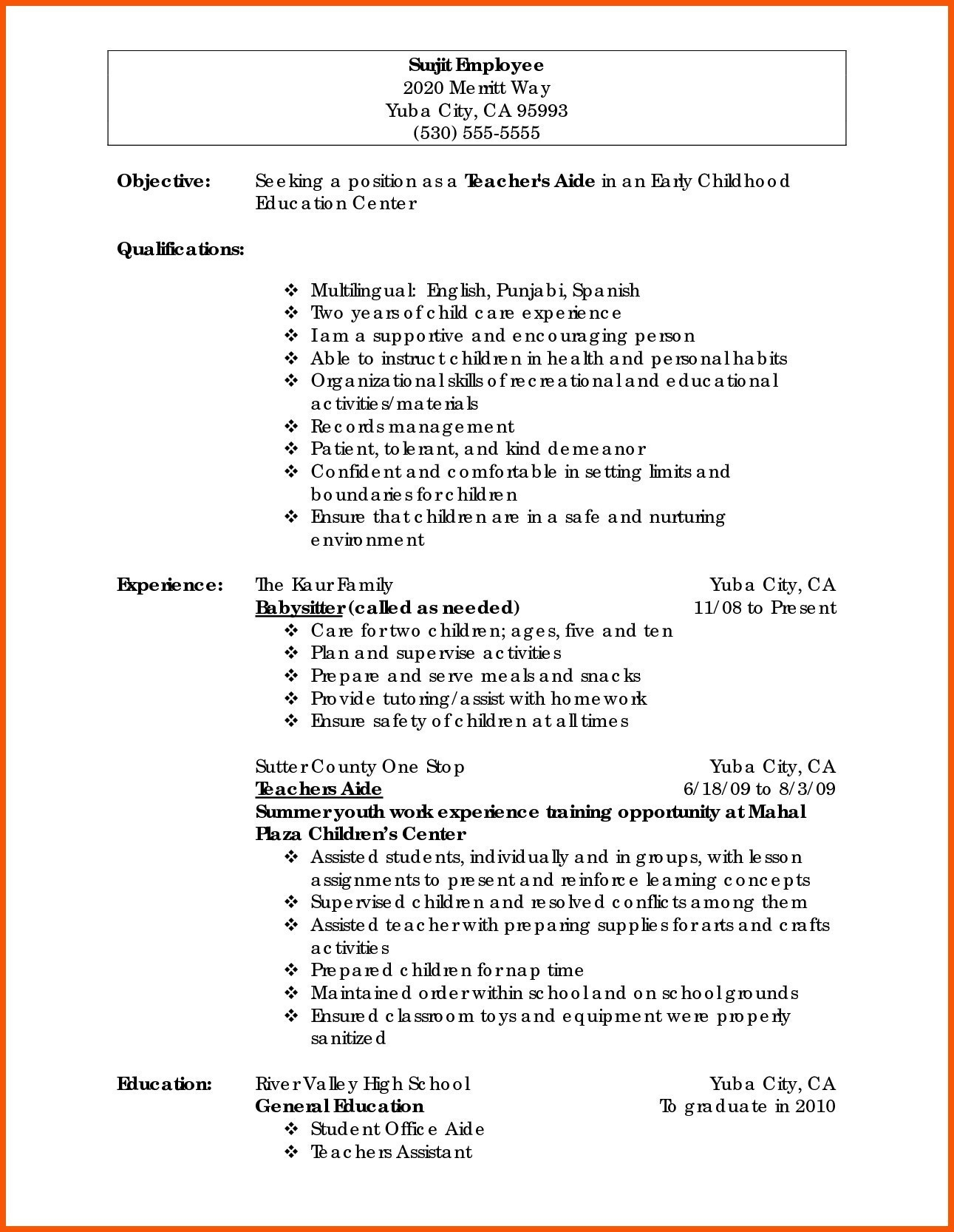 Peace Corps Resume Examples - 16 Peace Corps Resume