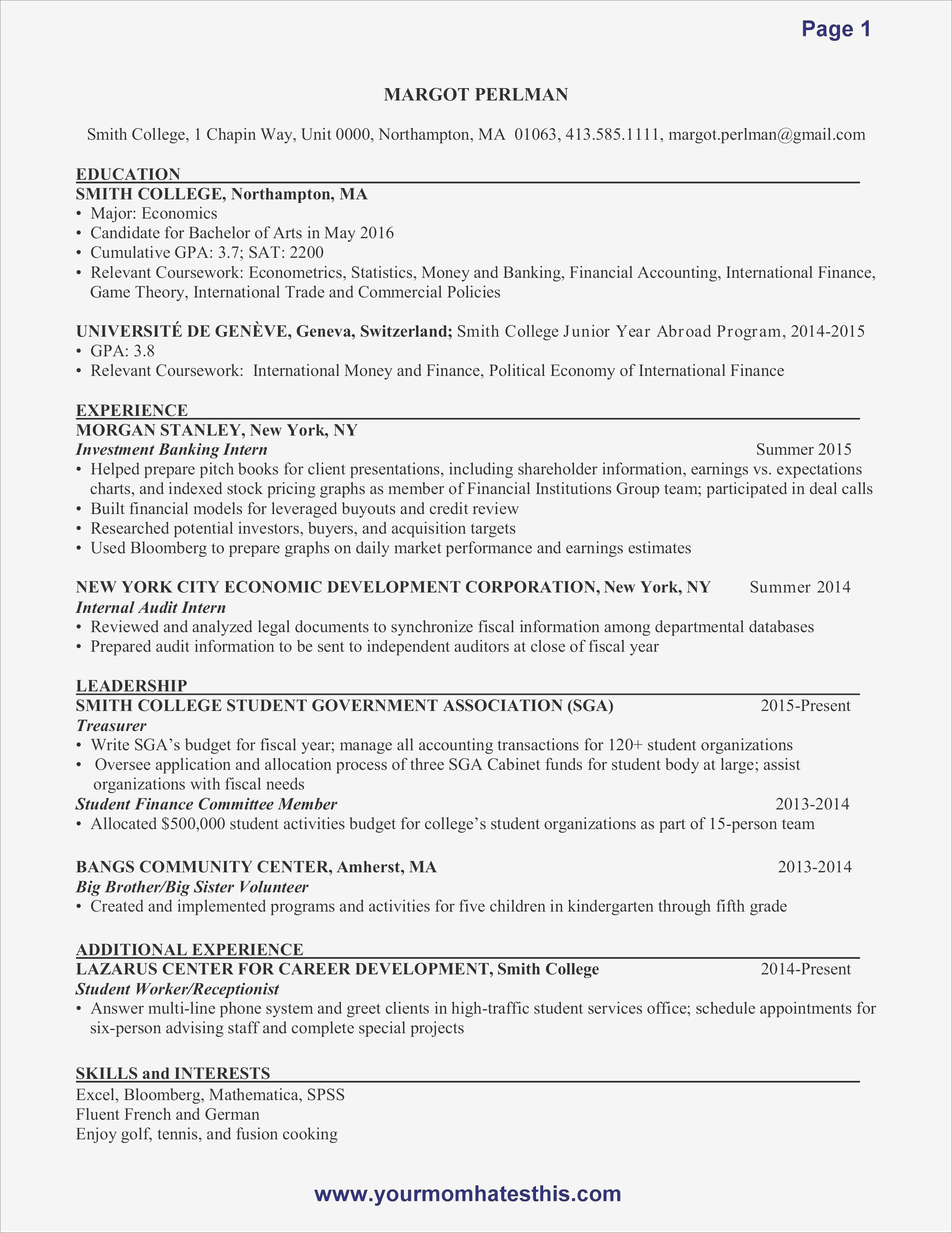 Perfect Resume Sample - First Resume Samples