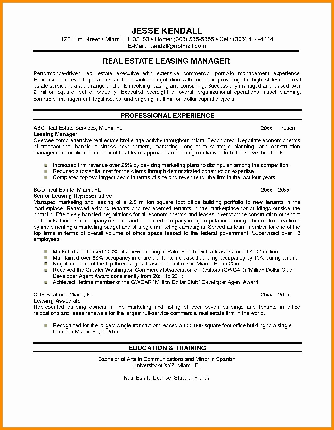 Performance Resume Example - Resume for Sales Executive In Real Estate Resume Resume Examples