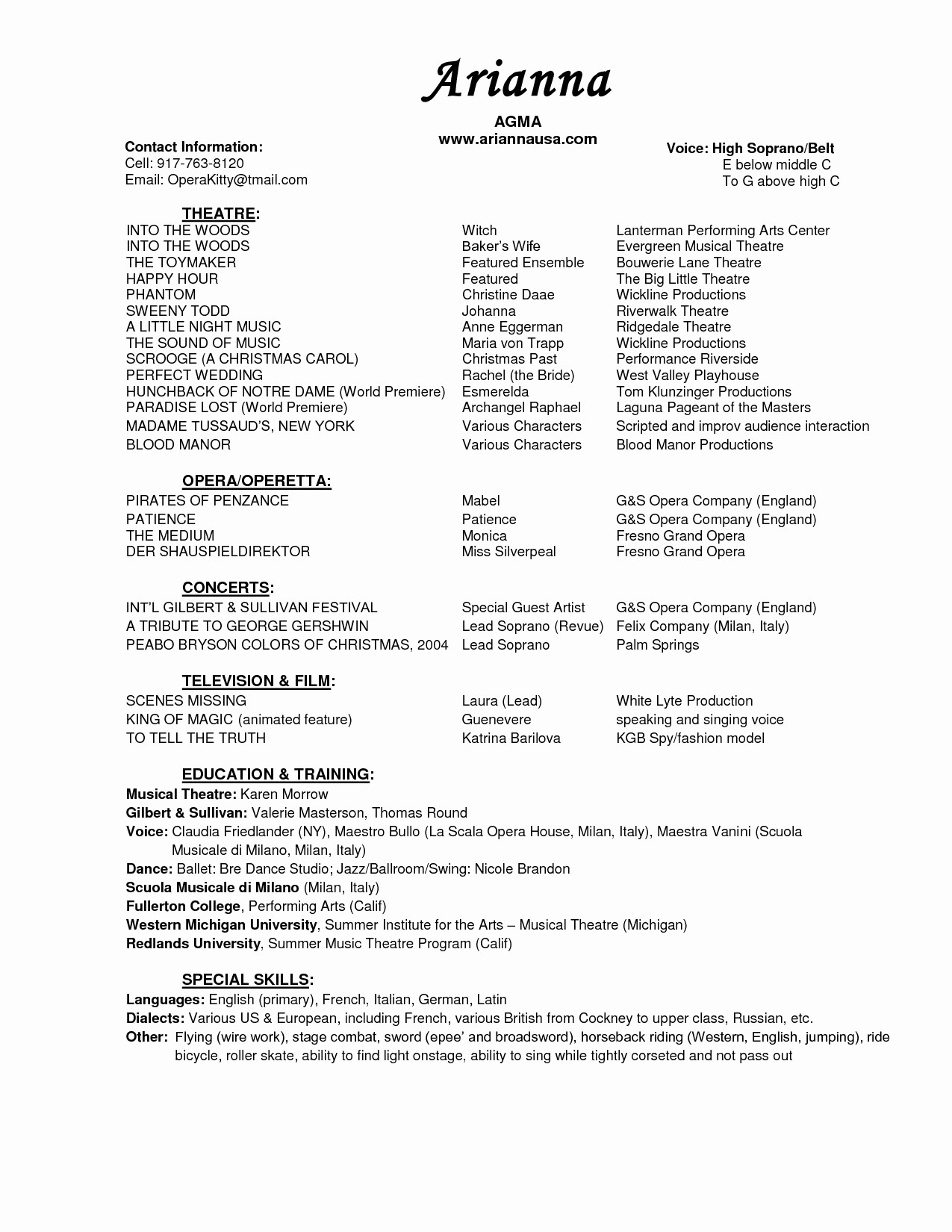 Performing Resume Template - Musicians Resume Template Save Musical theatre Resume Template