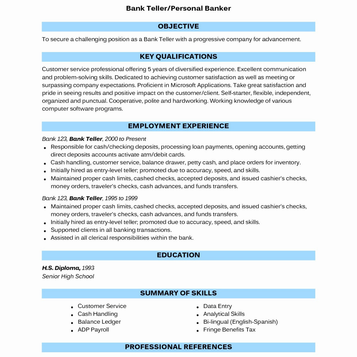 Personal Banker Resume - Correct Spelling Resume New Fresh Resumes for A Bank Teller