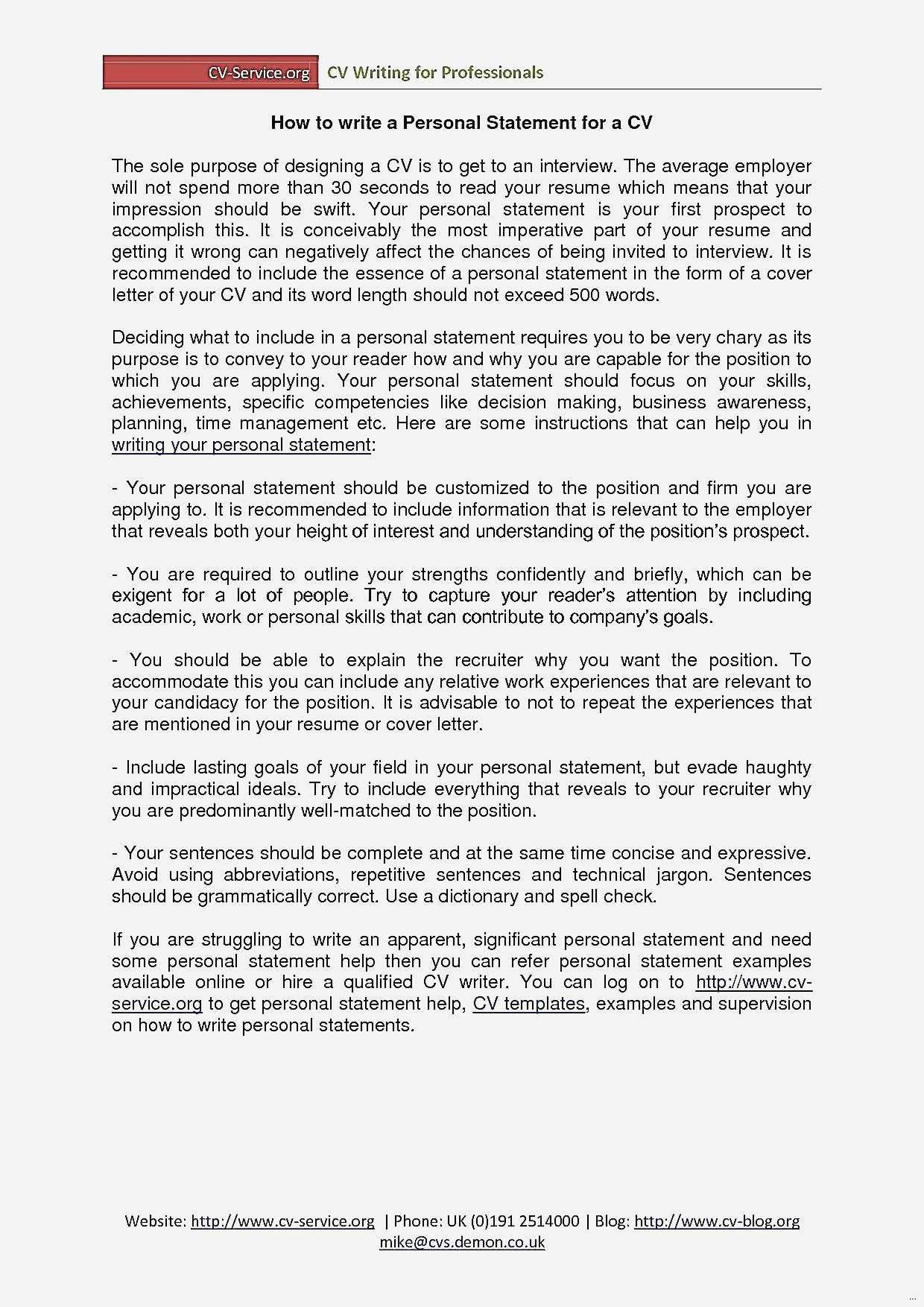 Personal Summary Resume - Fantastic Personal Statement Template