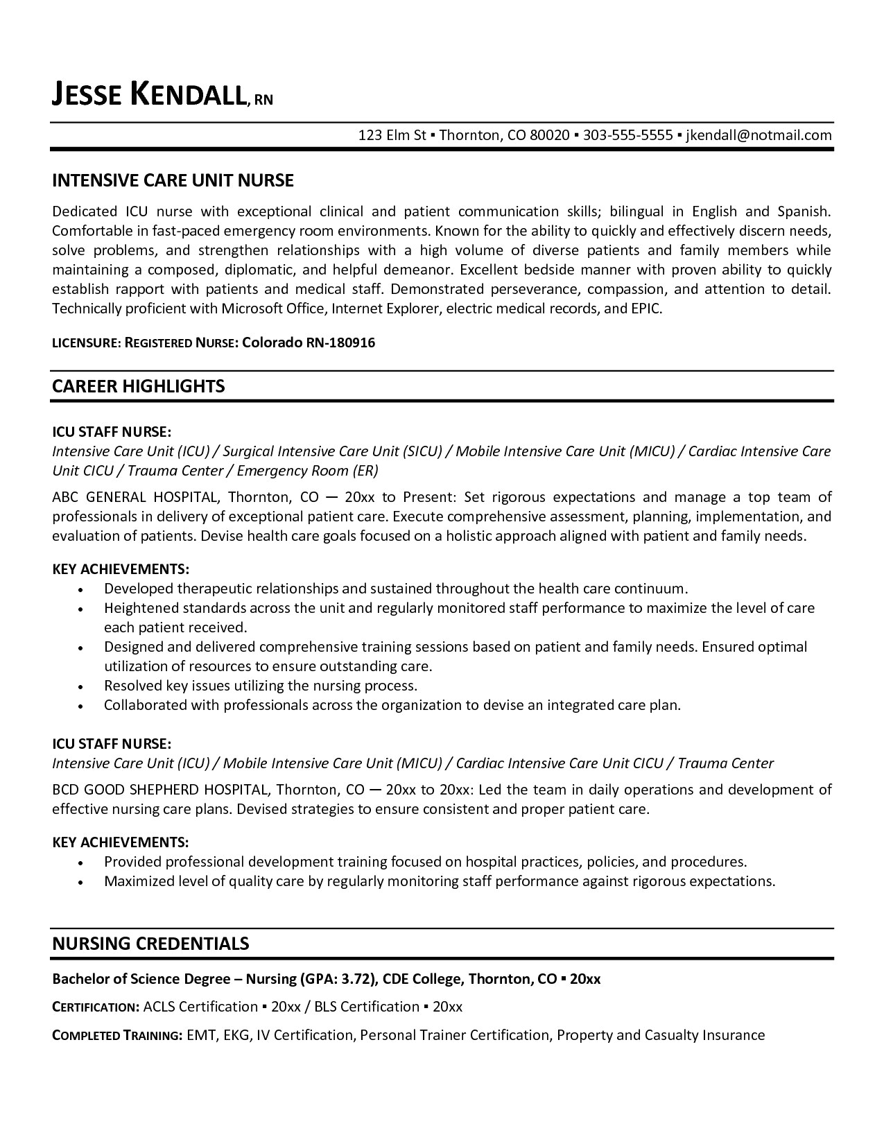 Personal Training Resume Template - Registered Nurse Quotes