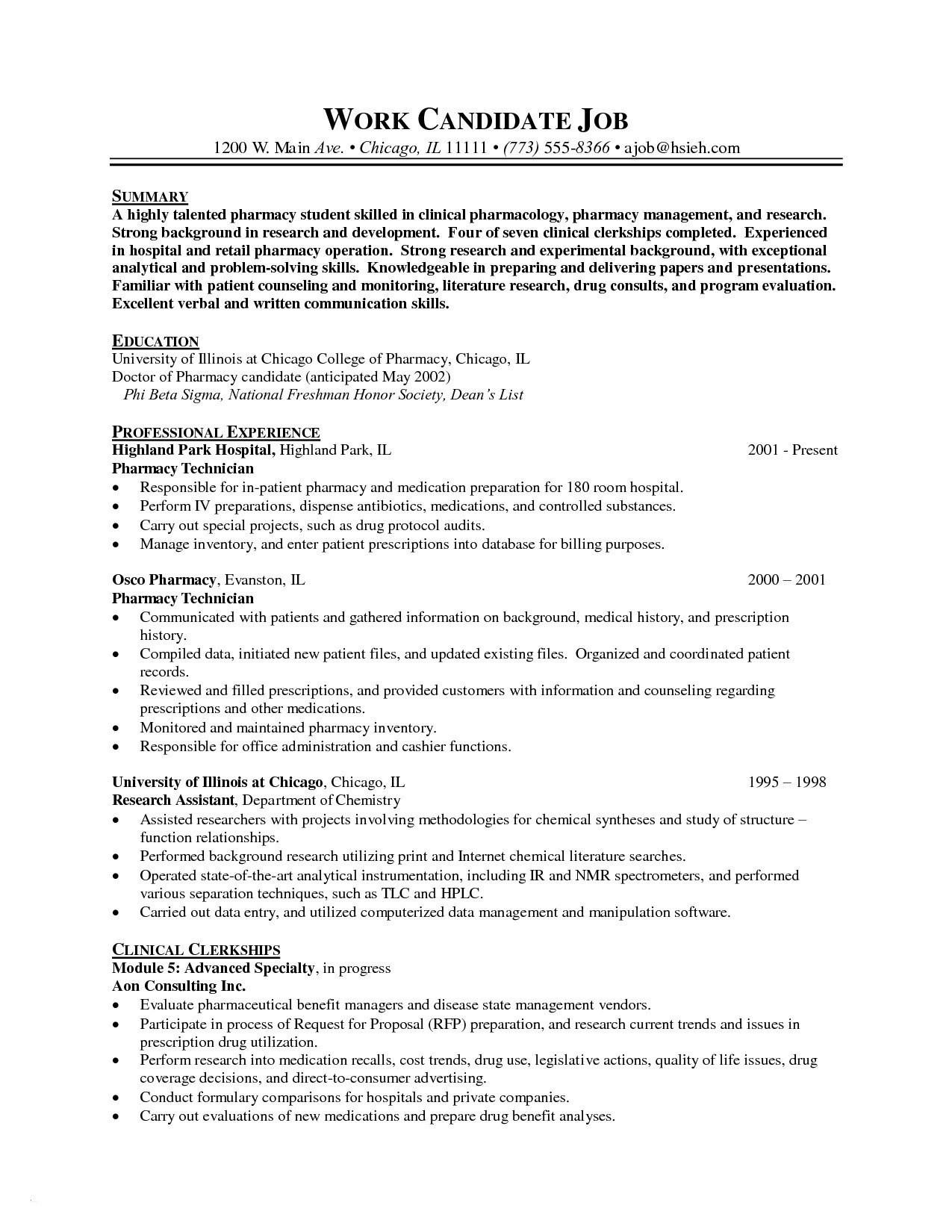 Pharmacist Resume Template Word - 25 Pharmacy Technician Job Description for Resume