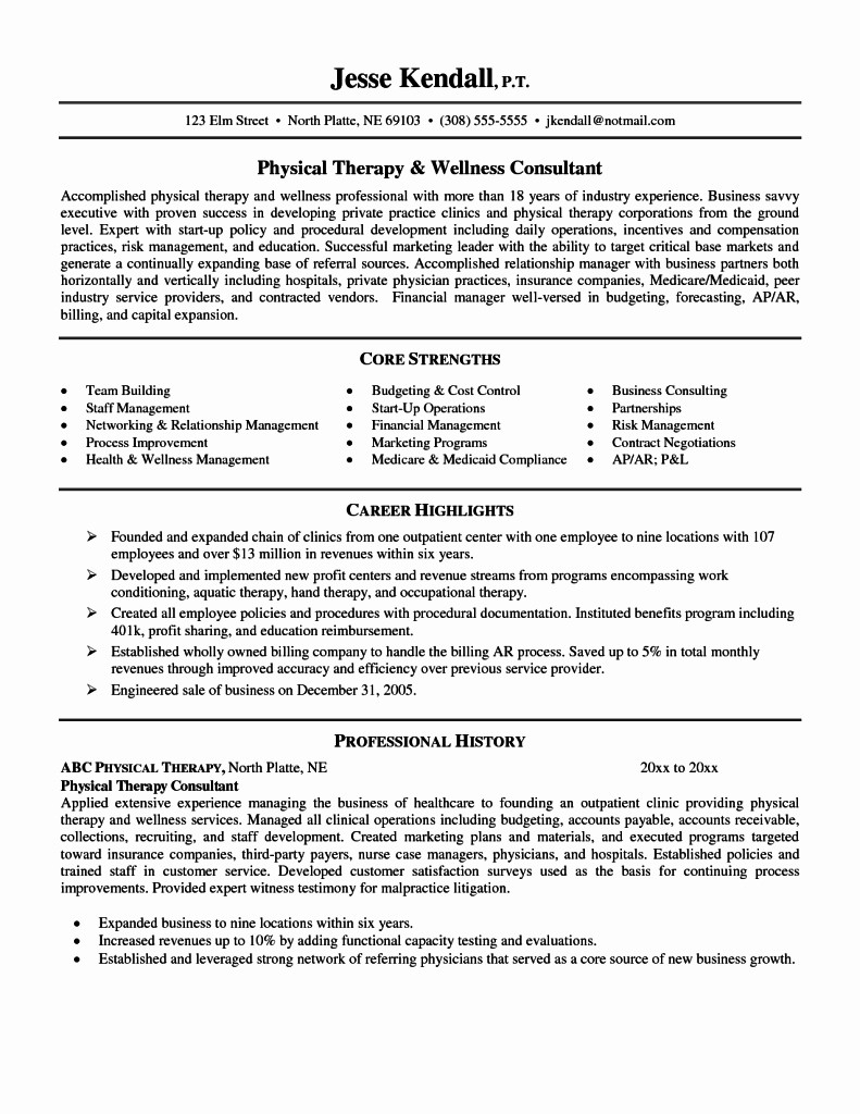 Physical therapist Aide Resume Samples - Physical therapy Aide Resume Elegant Physical therapist Resume