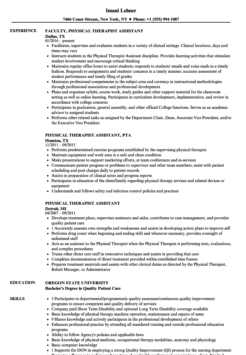 Physical therapy Aide Resume Sample - Resume Pta Resume Examples Economiavanzada