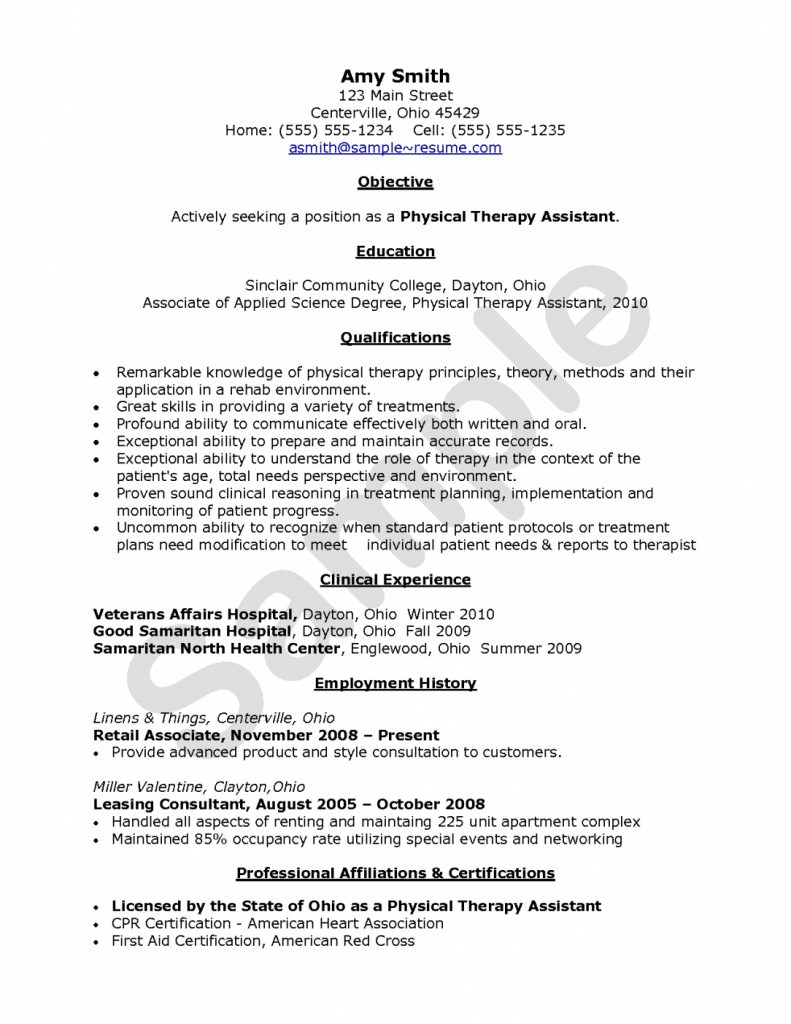 Physical therapy Tech Resume - Resume Pta Resume Examples Economiavanzada