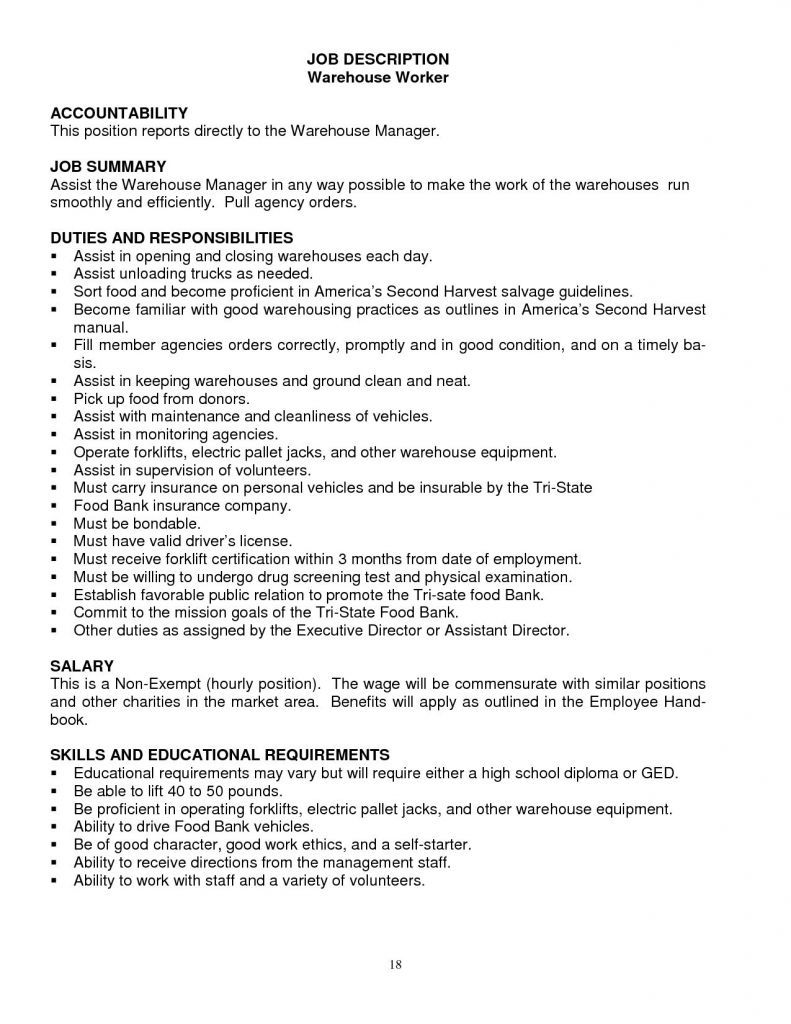 Picker Packer Job Description for Resume - Reference Duties A Warehouse Worker for Resume Vcuregistry