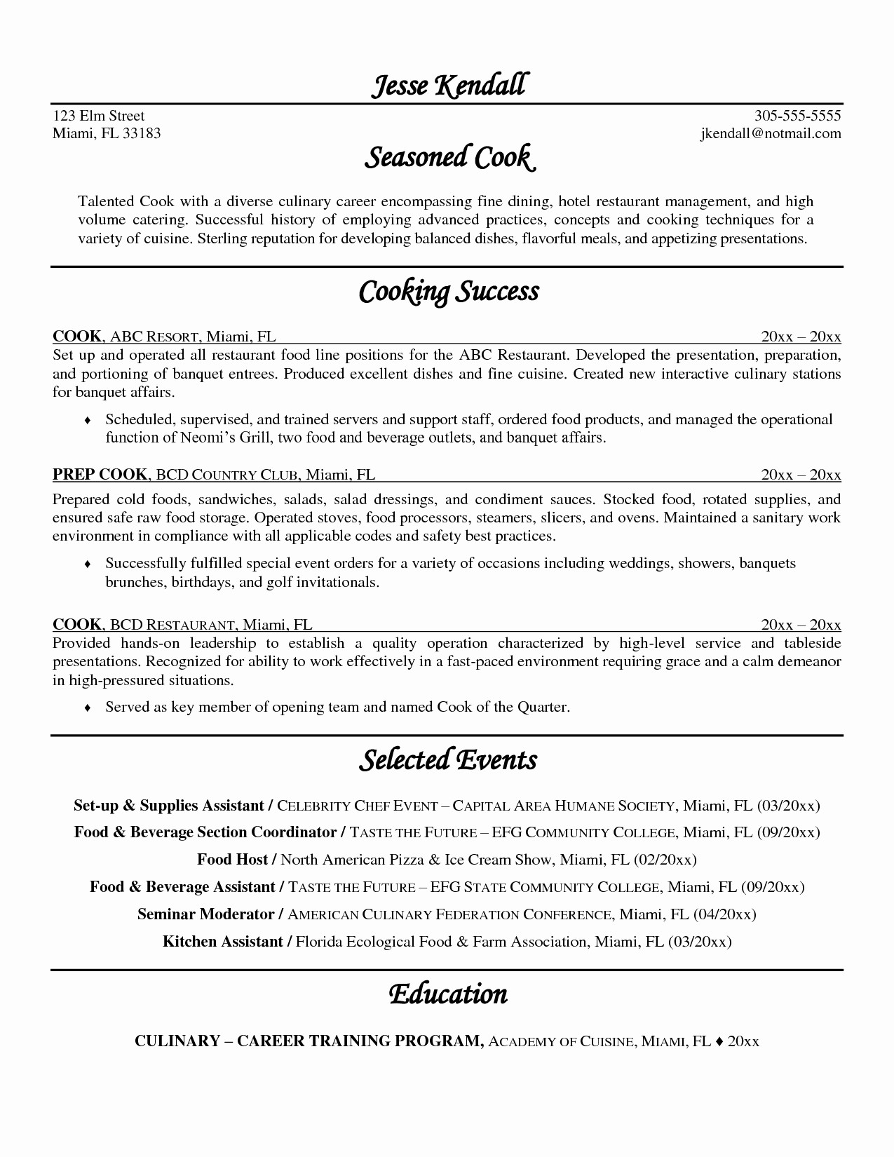 Prep Cook Resume Examples - Chef Resume format Valid sous Chef Resume Sample Unique Resume Us