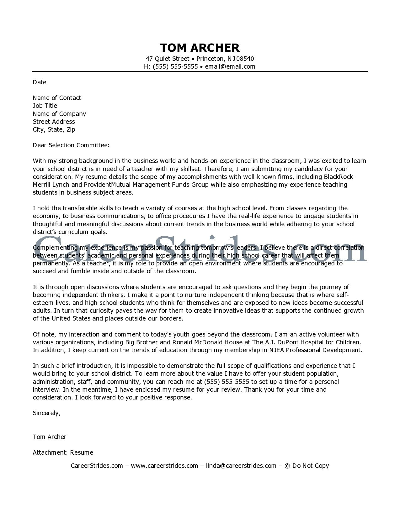 Princeton Resume Template - Teaching Cover Letters Careerstridesbusiness Teacher