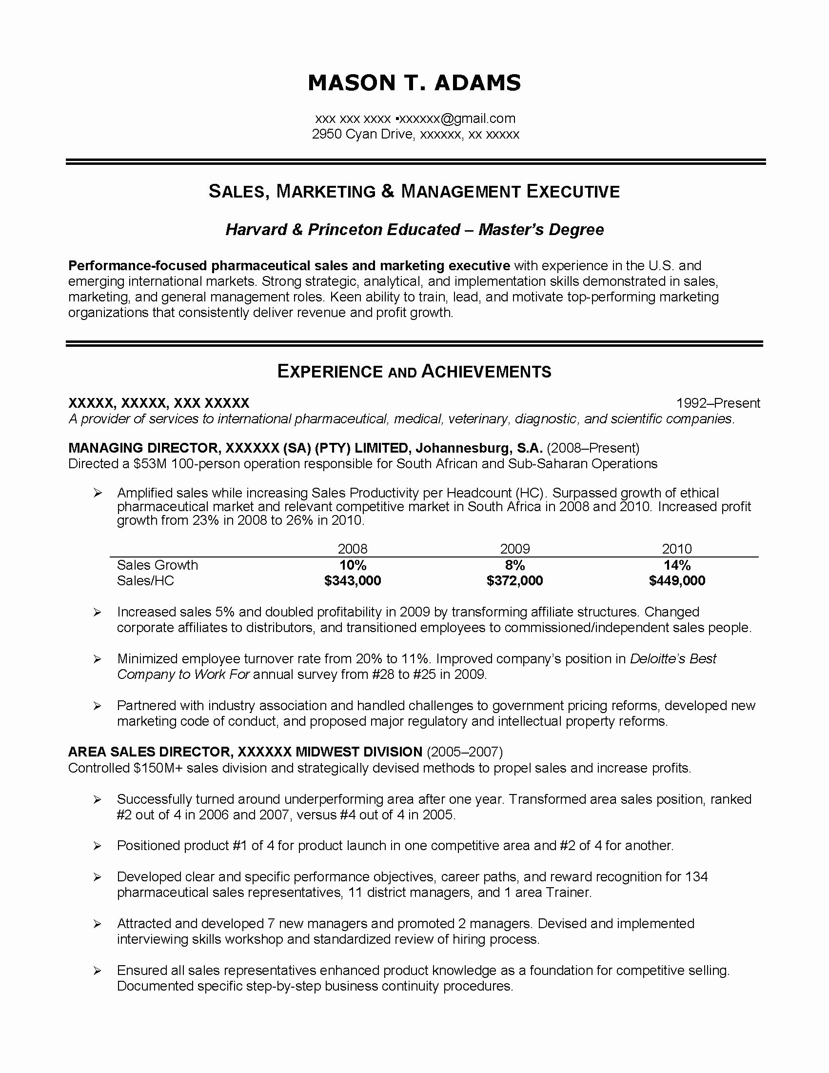 Princeton Resume Template - Sales Manager Resumes Samples Sales Manager Resume Examples Fresh
