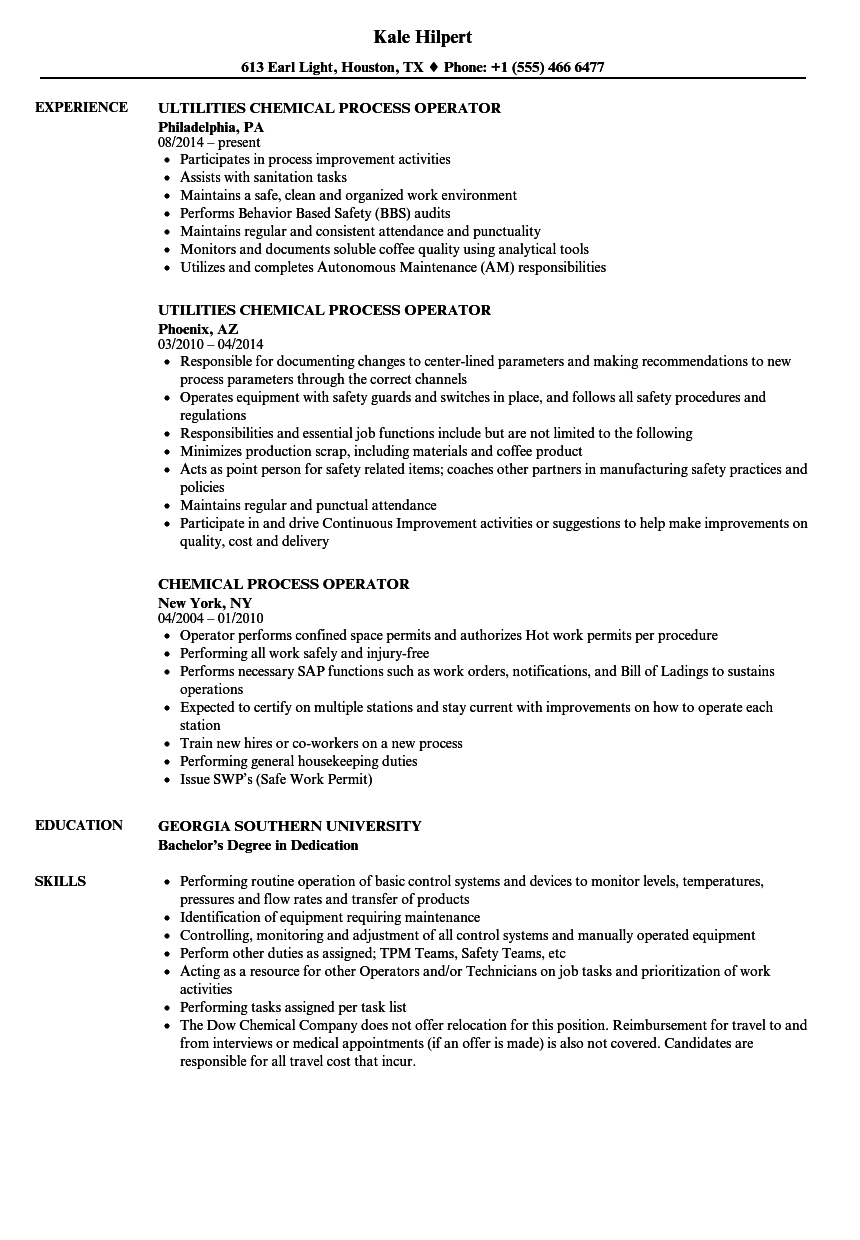 Process Operator Resume - Resume for Process Operator Process Operator Cover Letter Tier