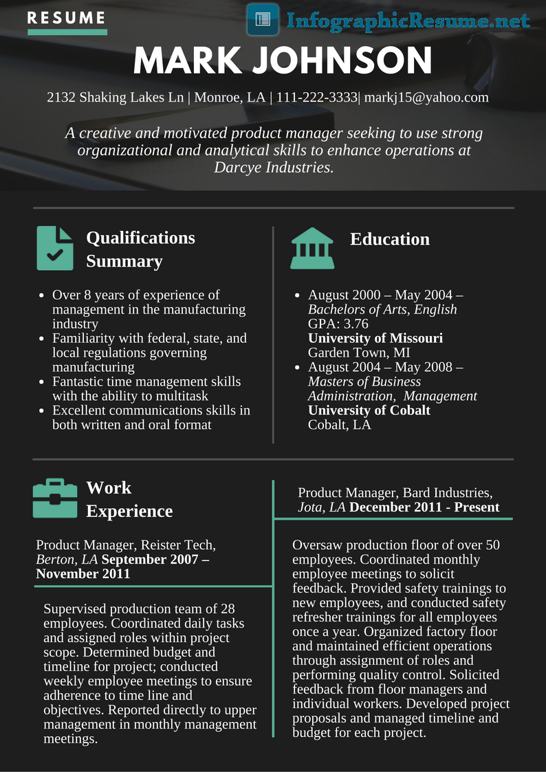 Product Manager Resume Template - Pin by Infographic Resume On Product Manager Infographic Resume