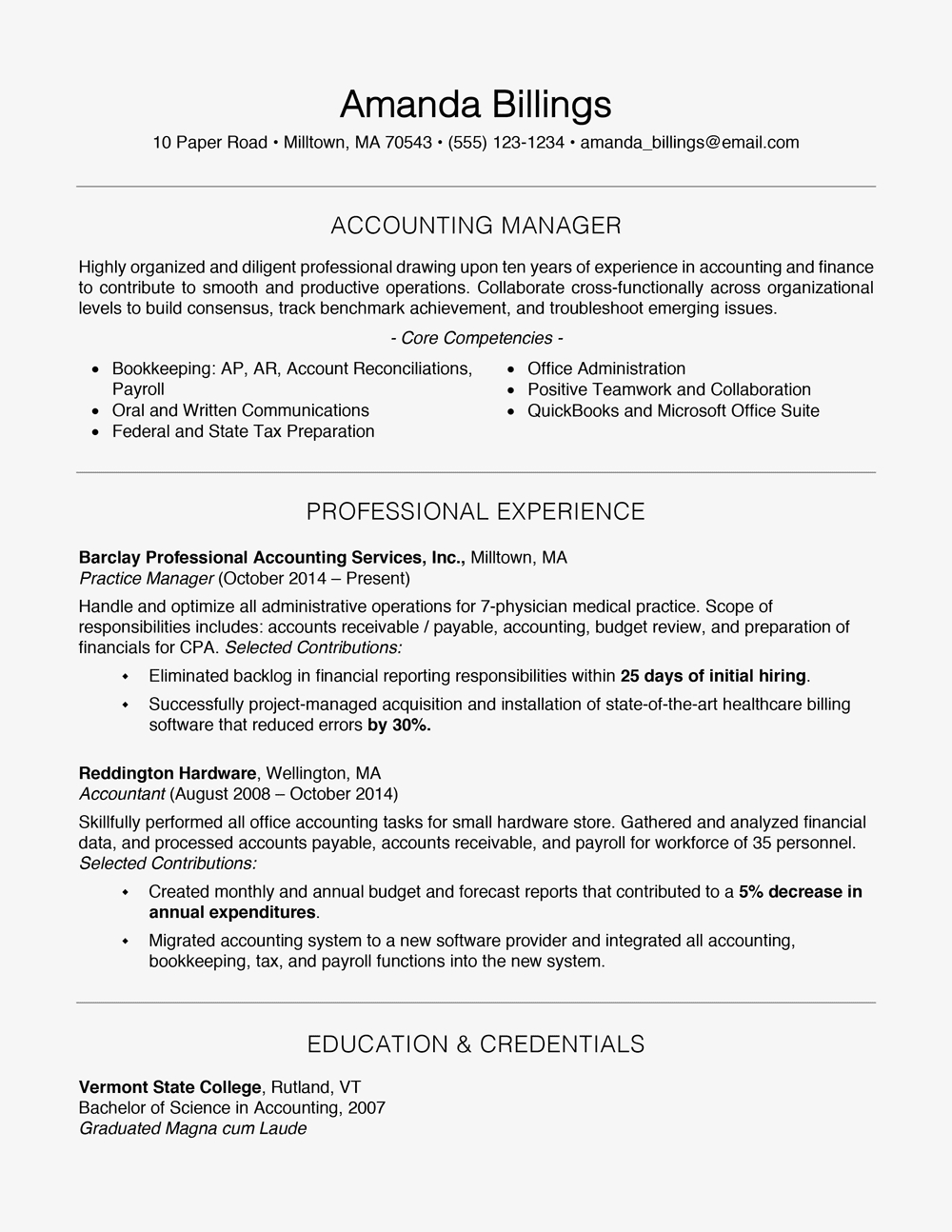 Professional Accountant Resume Template - 100 Free Professional Resume Examples and Writing Tips
