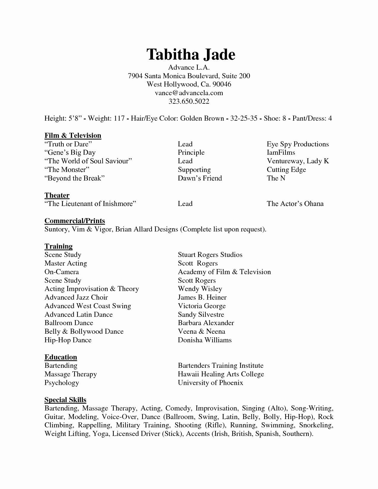 Professional Dancer Resume Template - Resume Inspirational Dance Resume Template and Pilot Beautiful